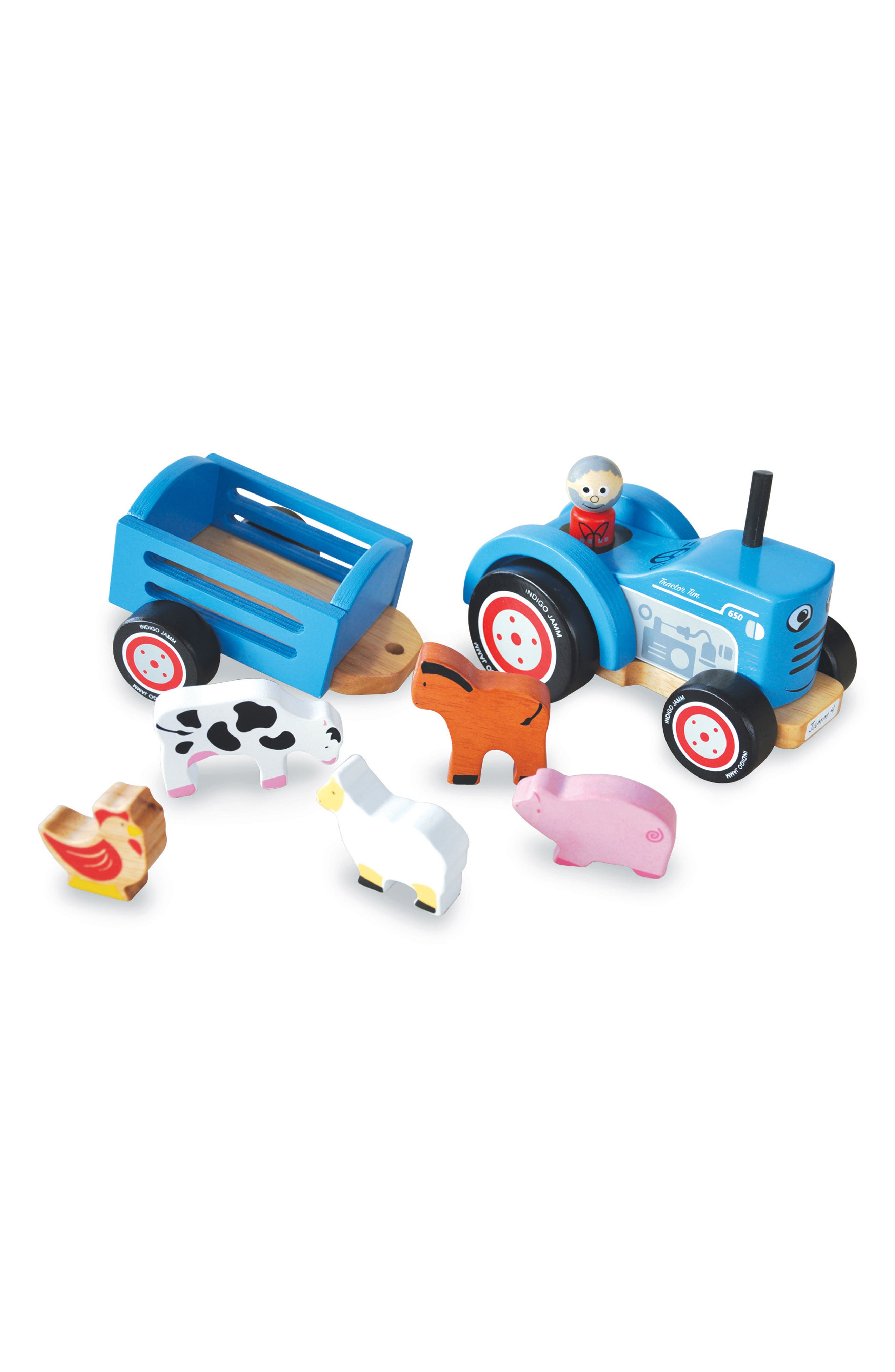 Wooden 8-Piece Farm Tractor Play Set,                         Main,                         color, Blue