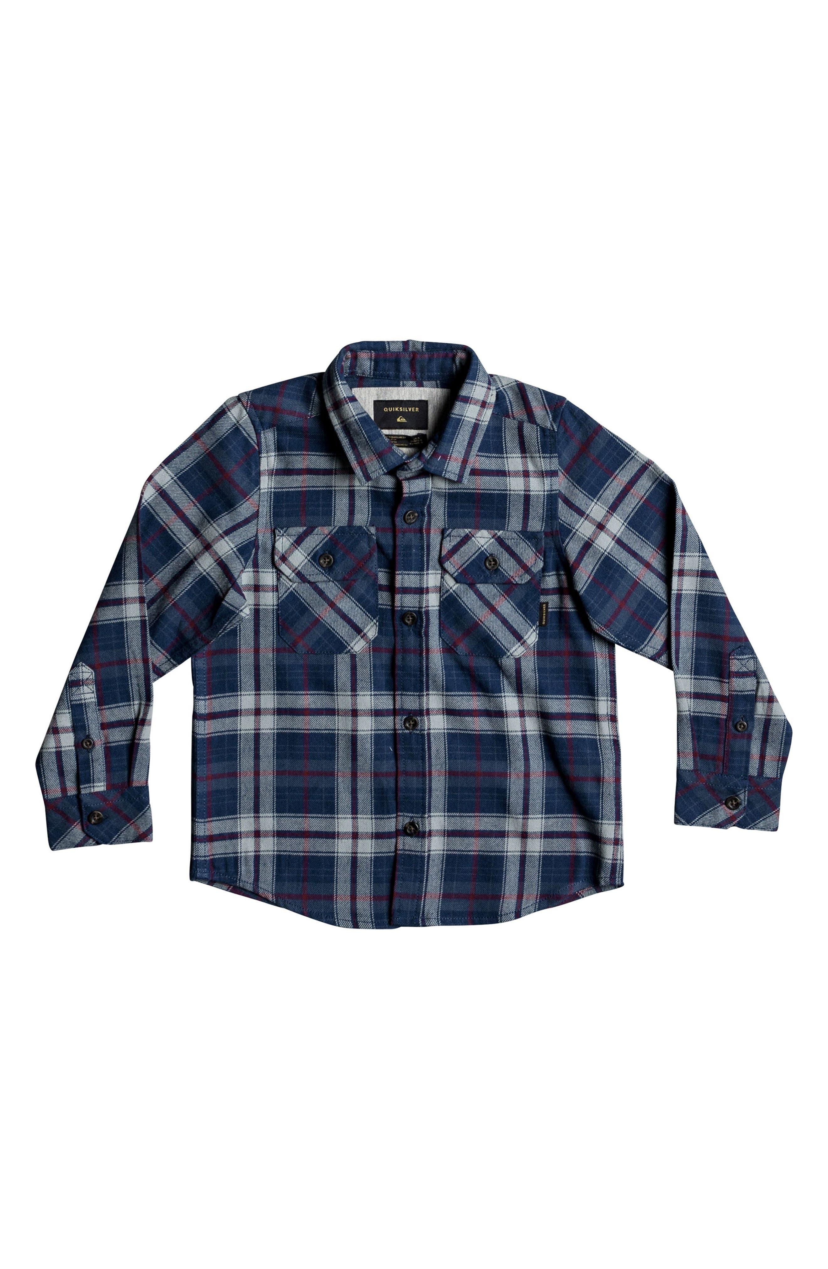 Main Image - Quiksilver Fitzspeere Plaid Flannel Shirt (Toddler Boys & Little Boys)