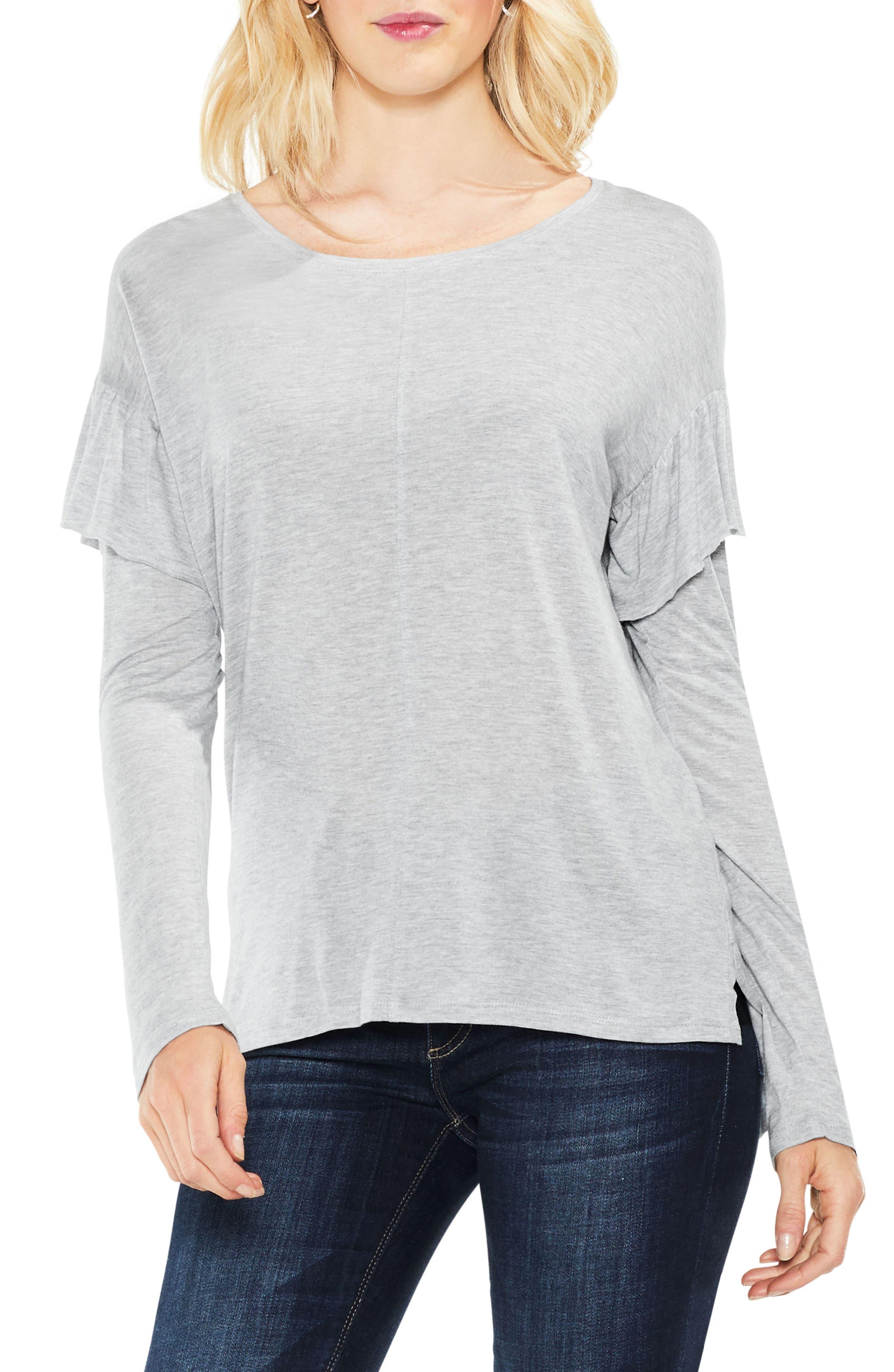 Seam Ruffle Shoulder Top,                         Main,                         color, Light Heather Grey