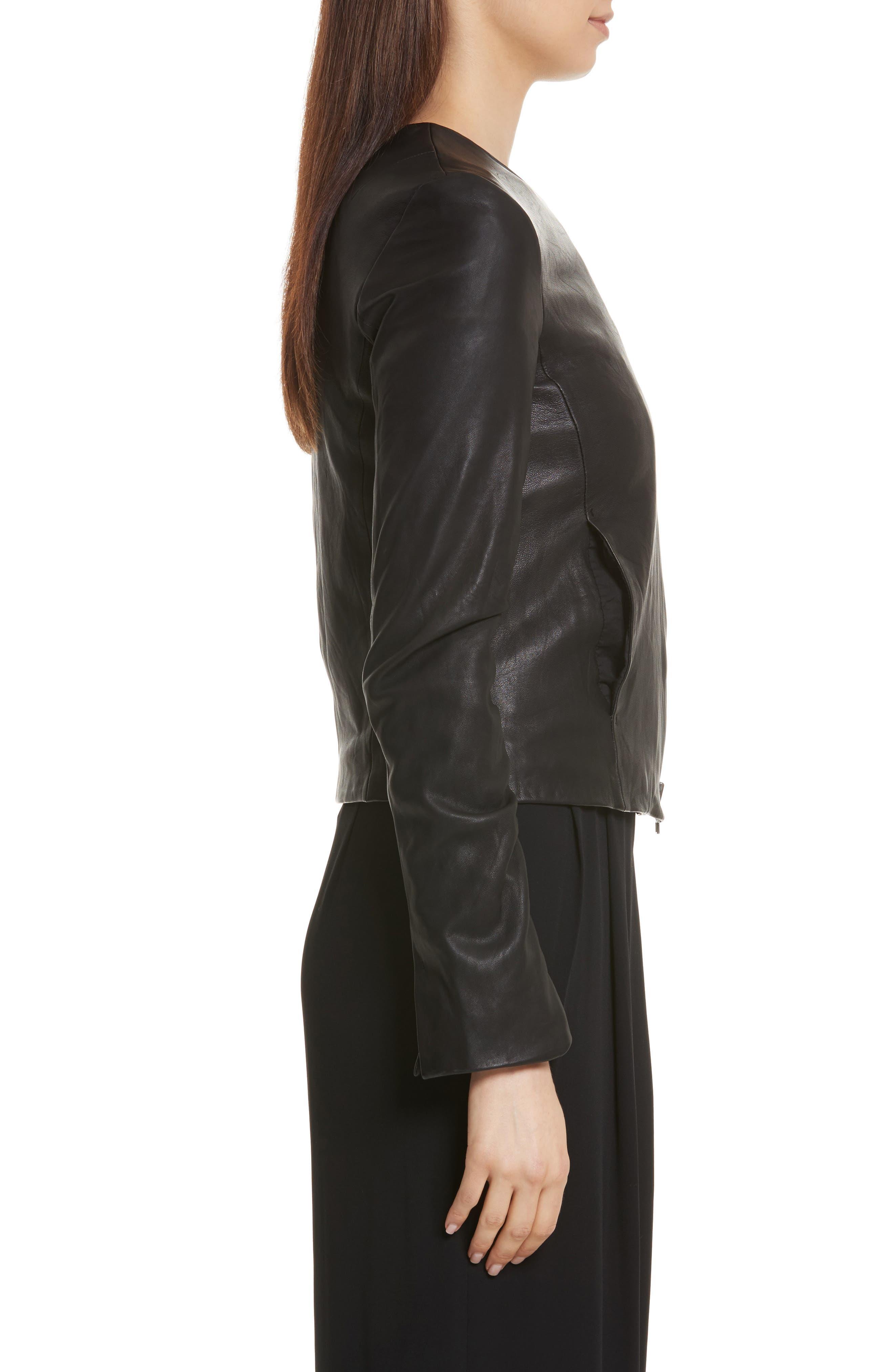 Cross Front Leather Jacket,                             Alternate thumbnail 3, color,                             Black