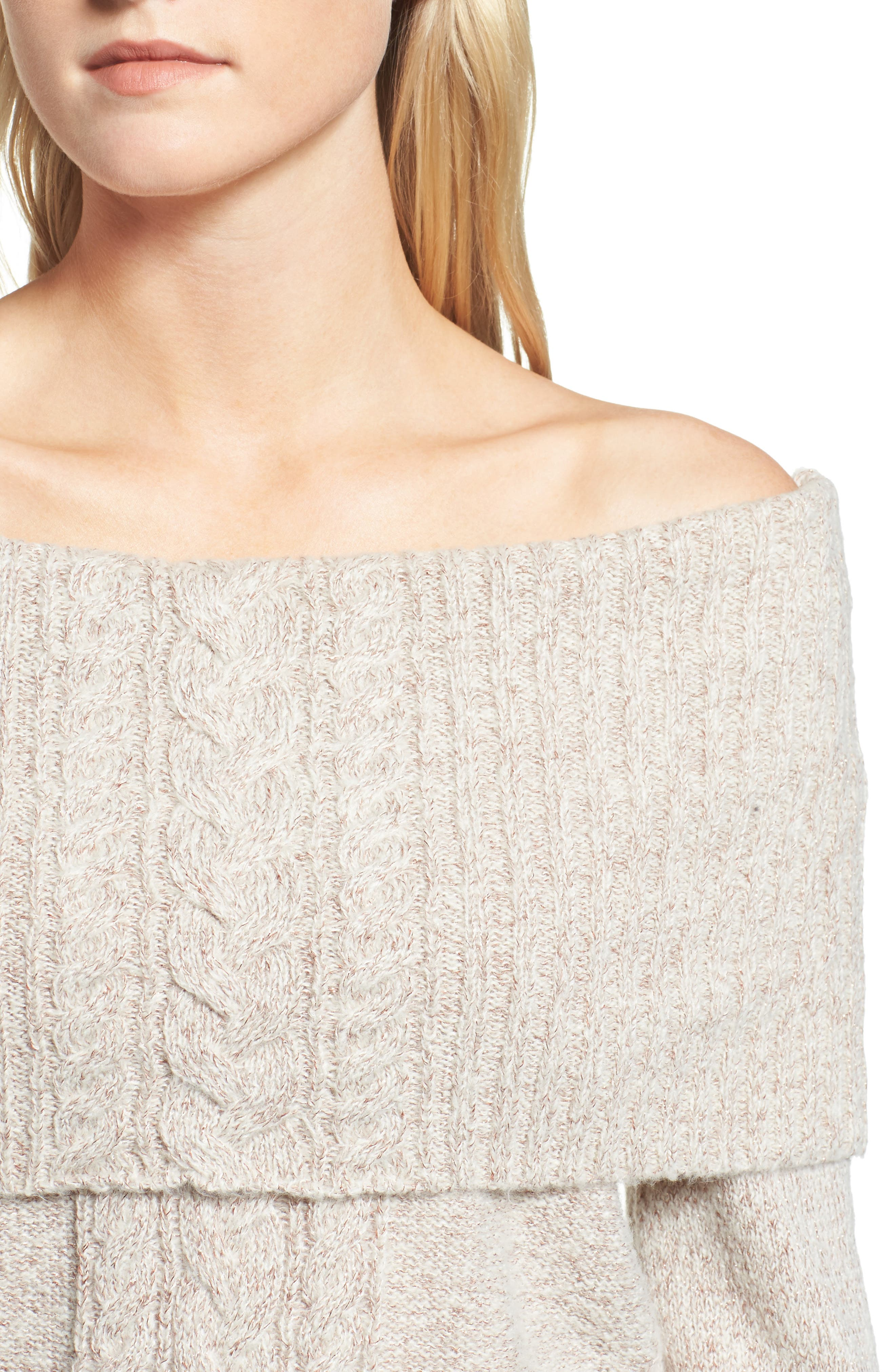 Off the Shoulder Sweater,                             Alternate thumbnail 4, color,                             Ivory Vanilla Champagne Combo