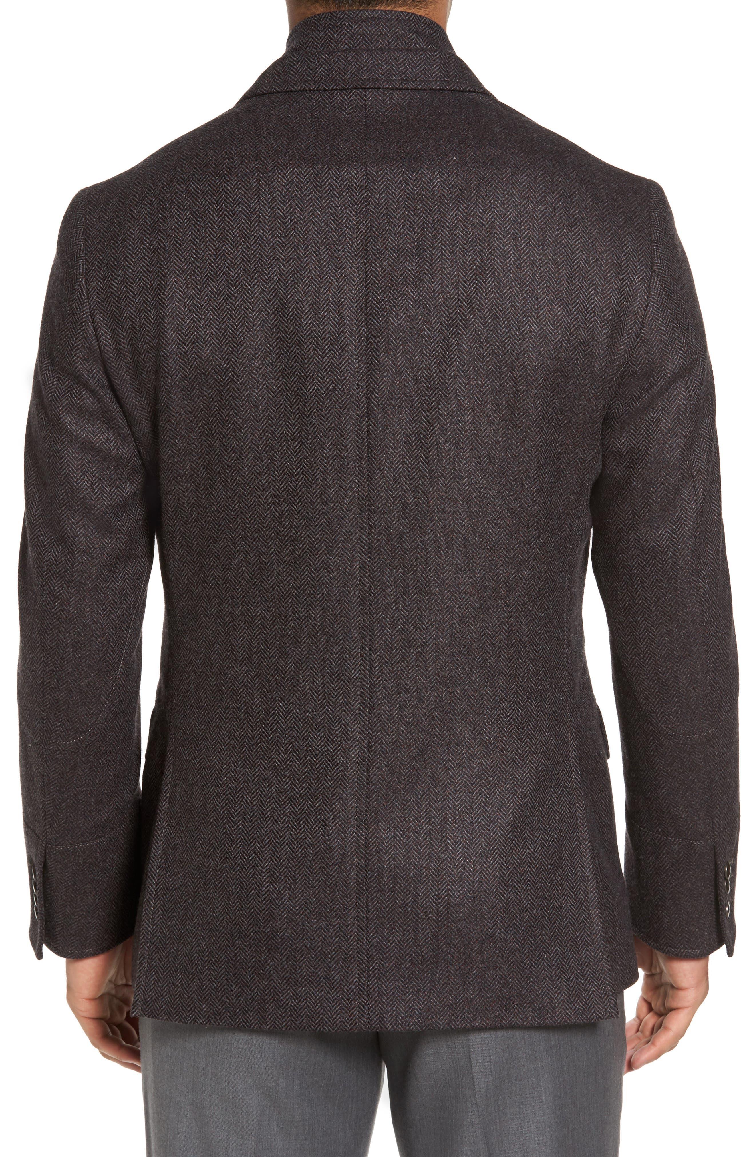 Ritchie Hybrid Classic Fit Wool & Cashmere Herringbone Sport Coat,                             Alternate thumbnail 2, color,                             Grey