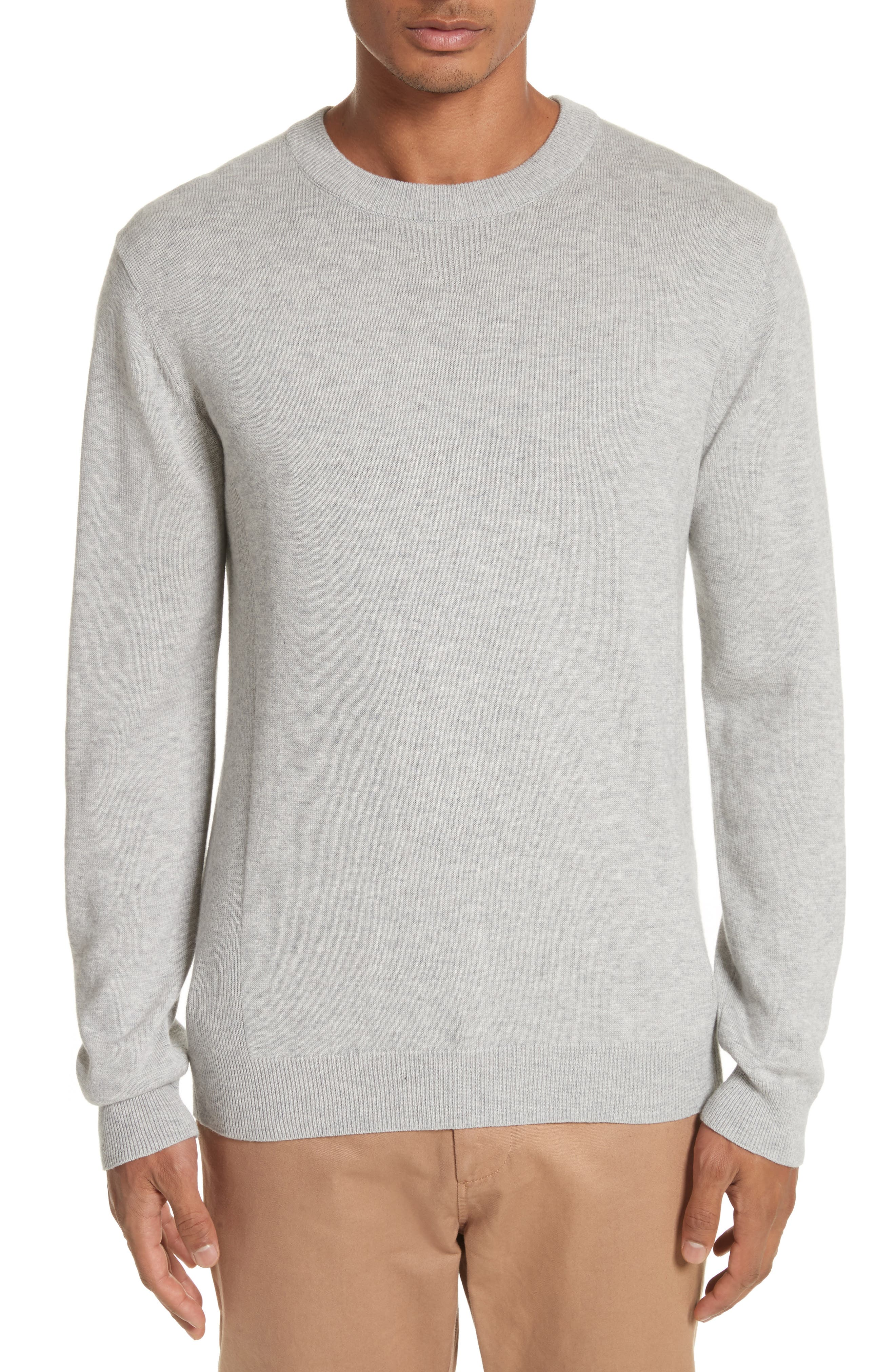 Merino Wool & Cashmere Pullover,                         Main,                         color, Ash Heather