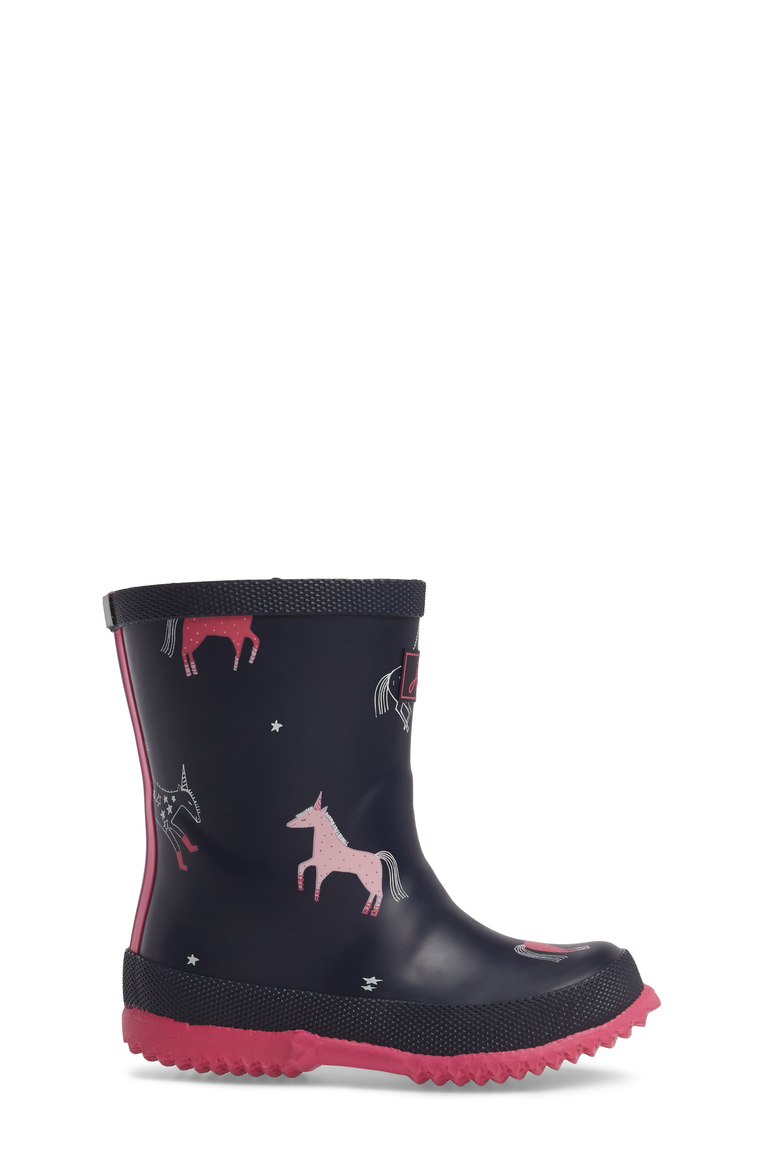 Printed Waterproof Rain Boot,                             Alternate thumbnail 3, color,                             French Navy Unicorns