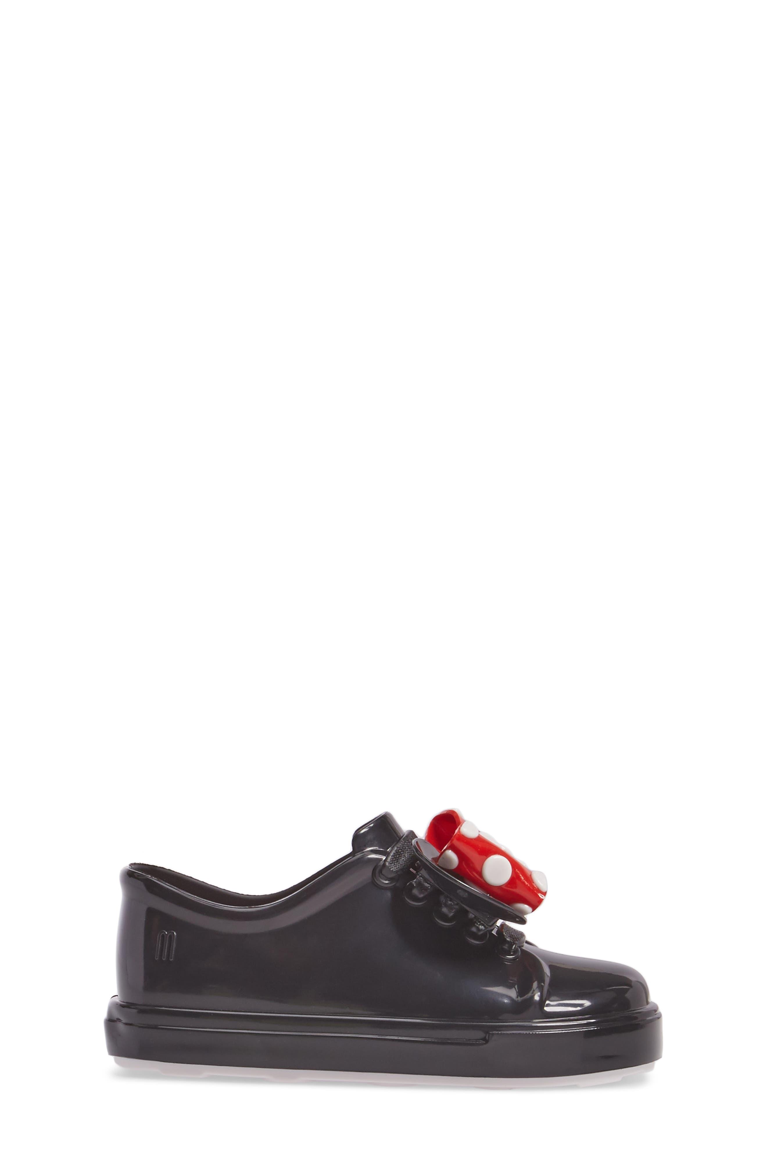 Mini Melissa Disney<sup>®</sup> Be Minnie Slip-On Sneaker,                             Alternate thumbnail 3, color,                             Black Glossy