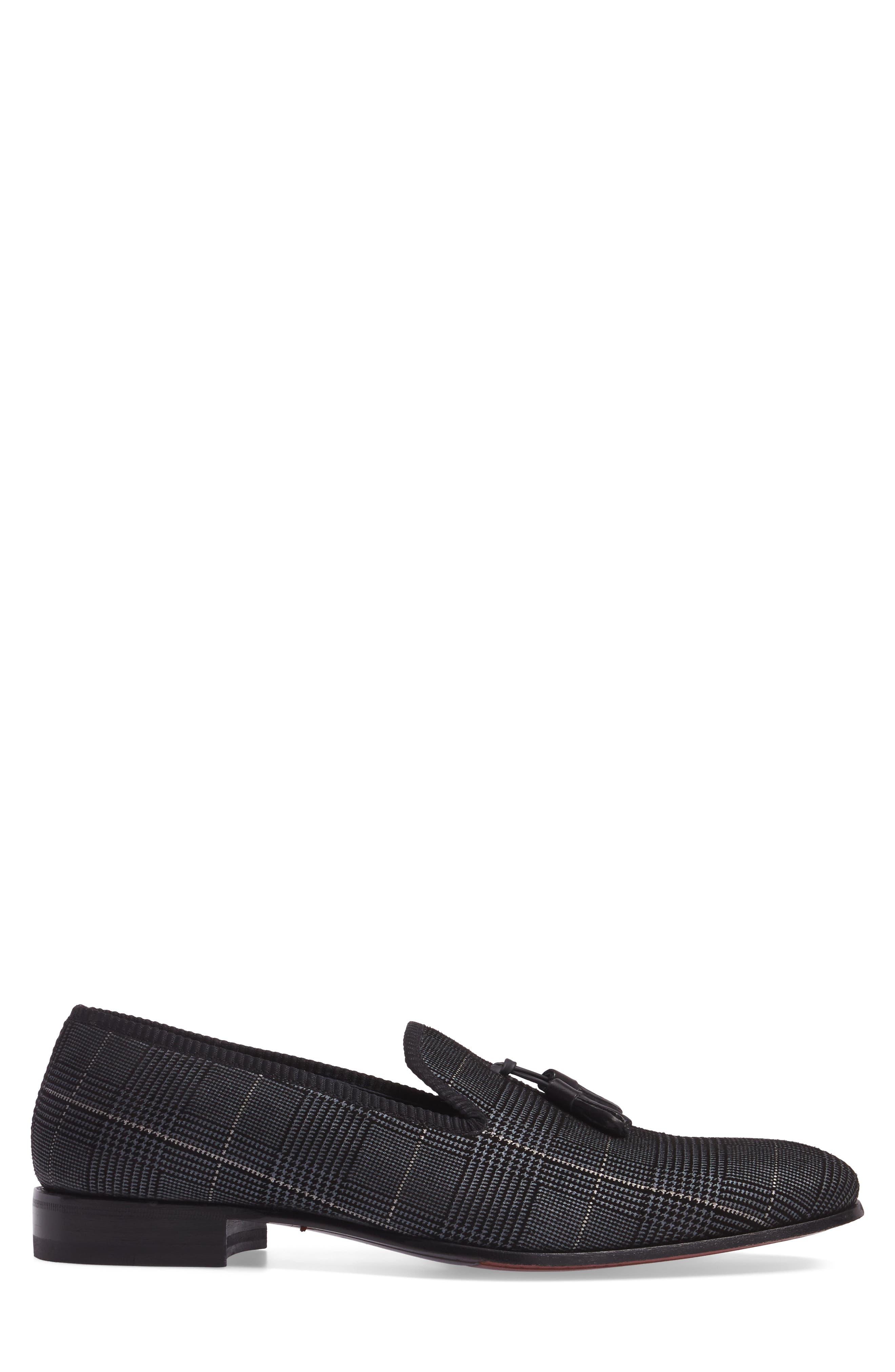 Motril Tassel Loafer,                             Alternate thumbnail 3, color,                             Black Suede