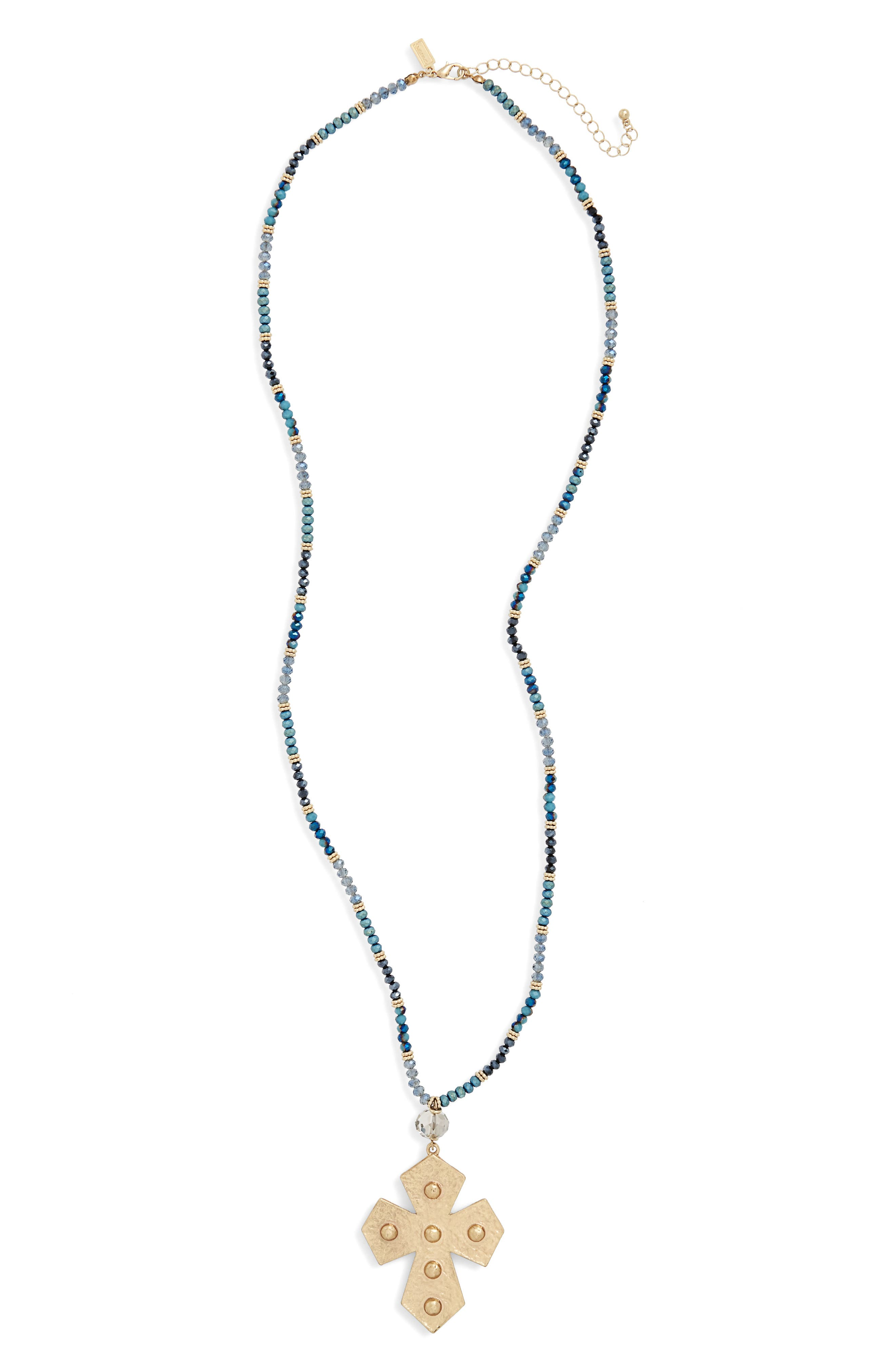 Beaded Pendant Necklace,                         Main,                         color, Teal