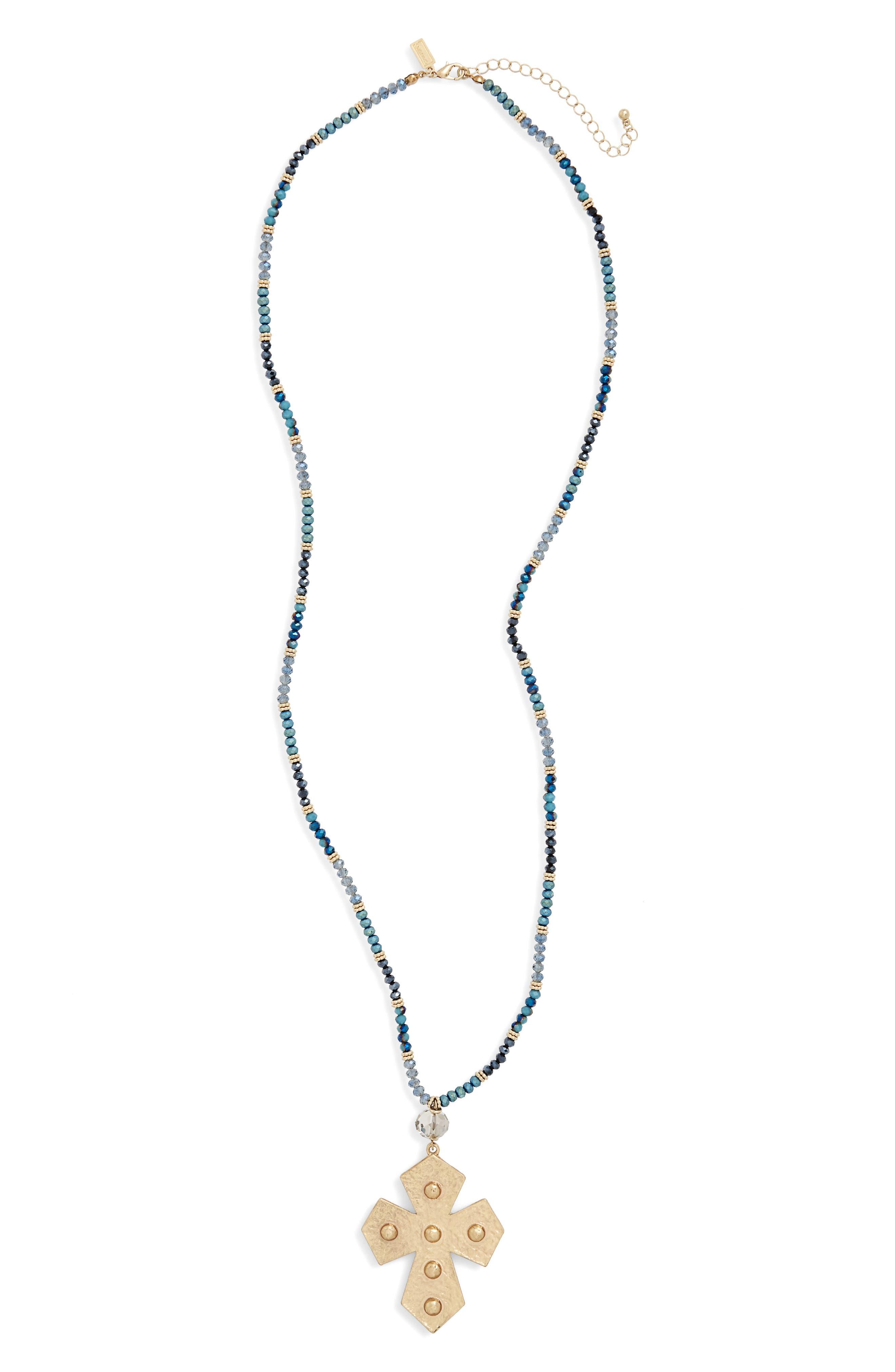 Canvas Jewelry Beaded Pendant Necklace
