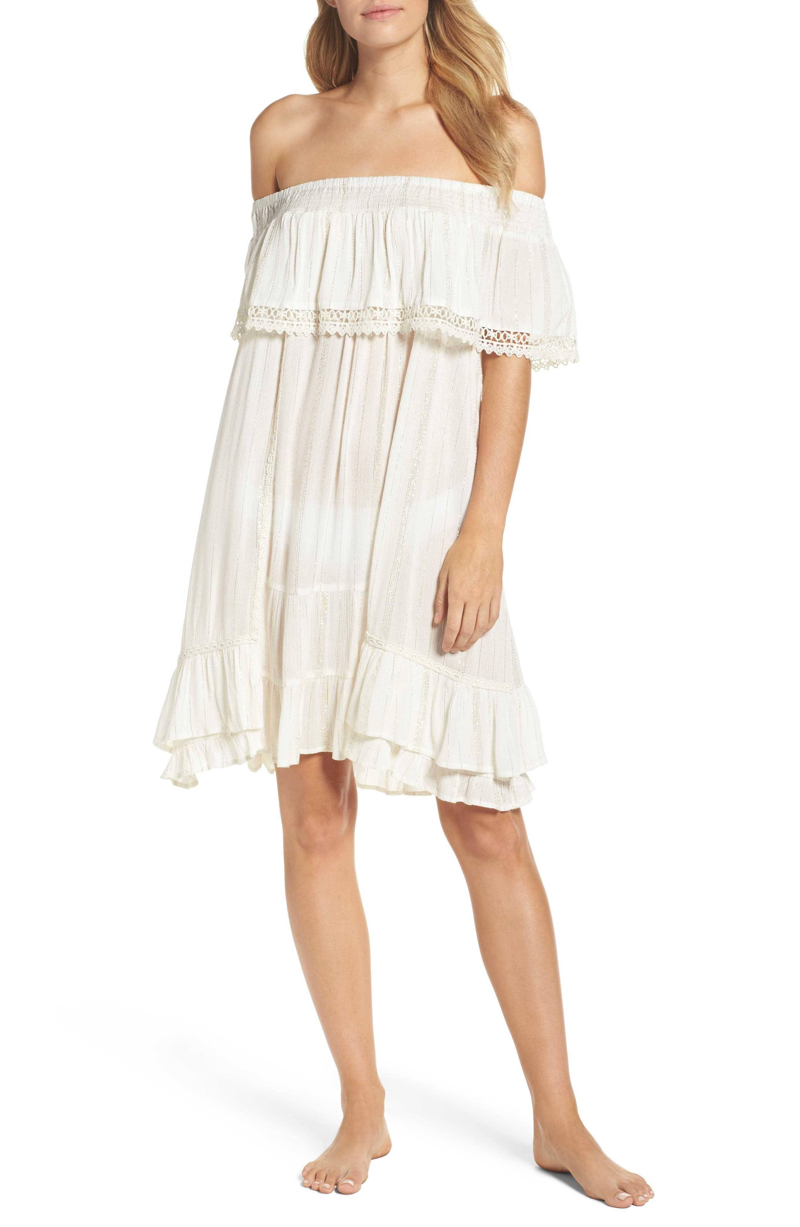Iris Ruffle Cover-Up Dress,                         Main,                         color, White
