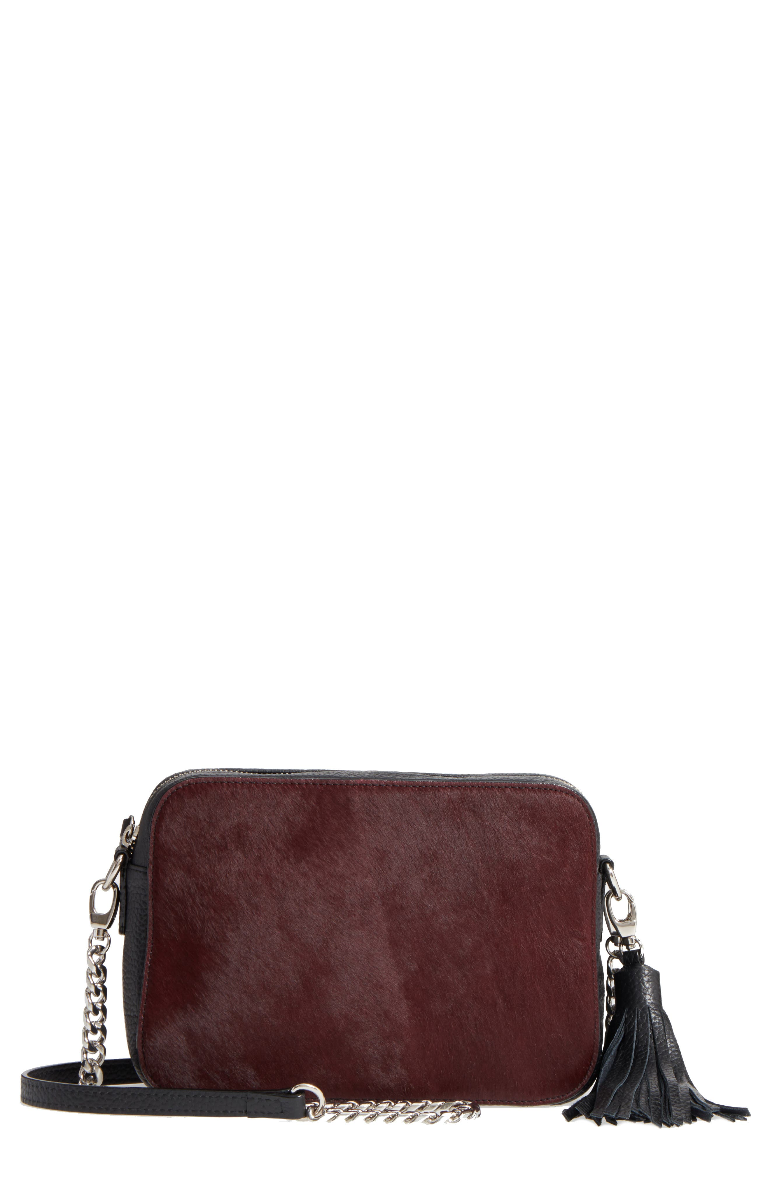 Alternate Image 1 Selected - Nordstrom Ella Leather & Genuine Calf Hair Crossbody Bag