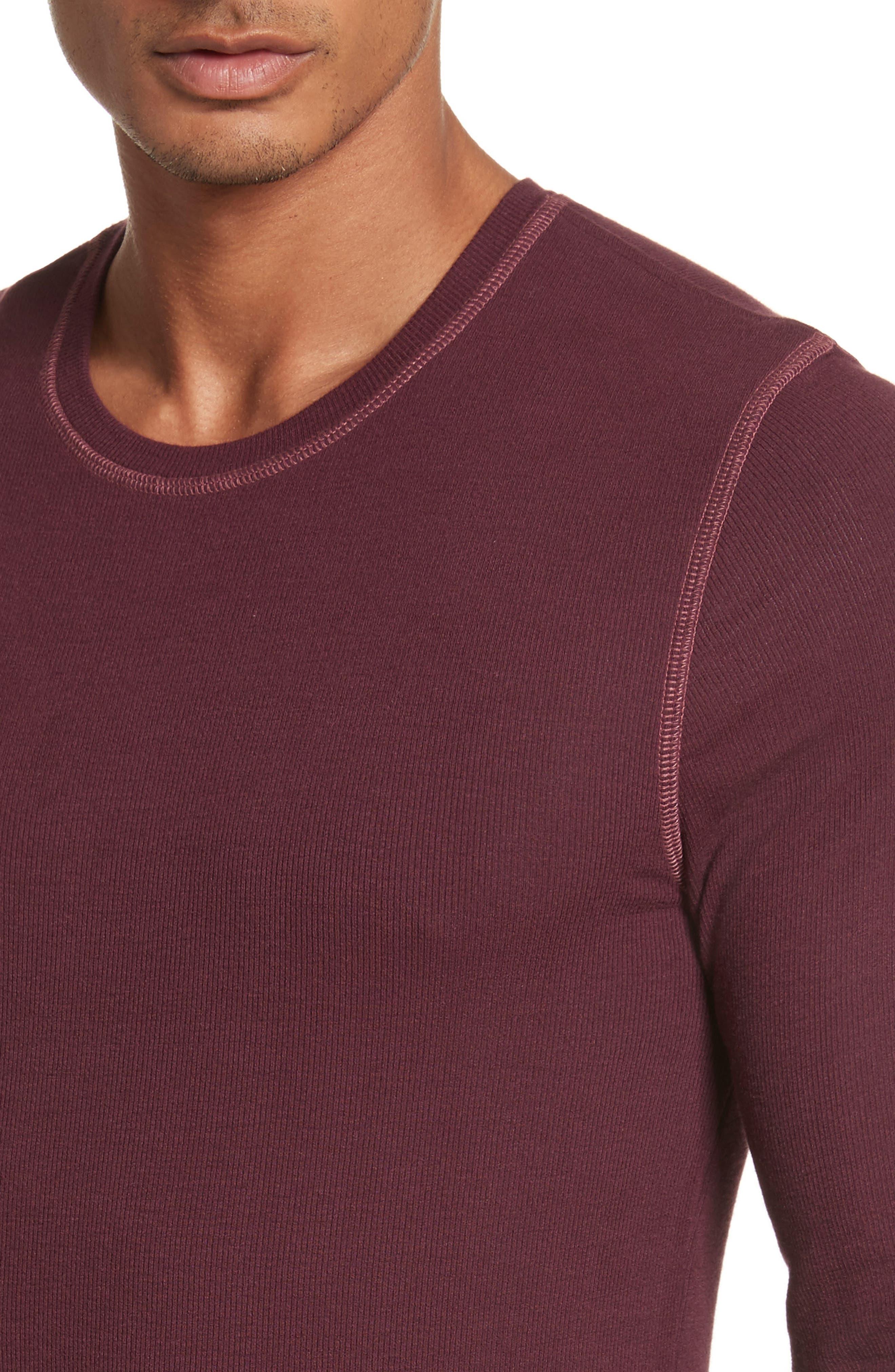 Rib Modal Crewneck Sweater,                             Alternate thumbnail 4, color,                             Merlot