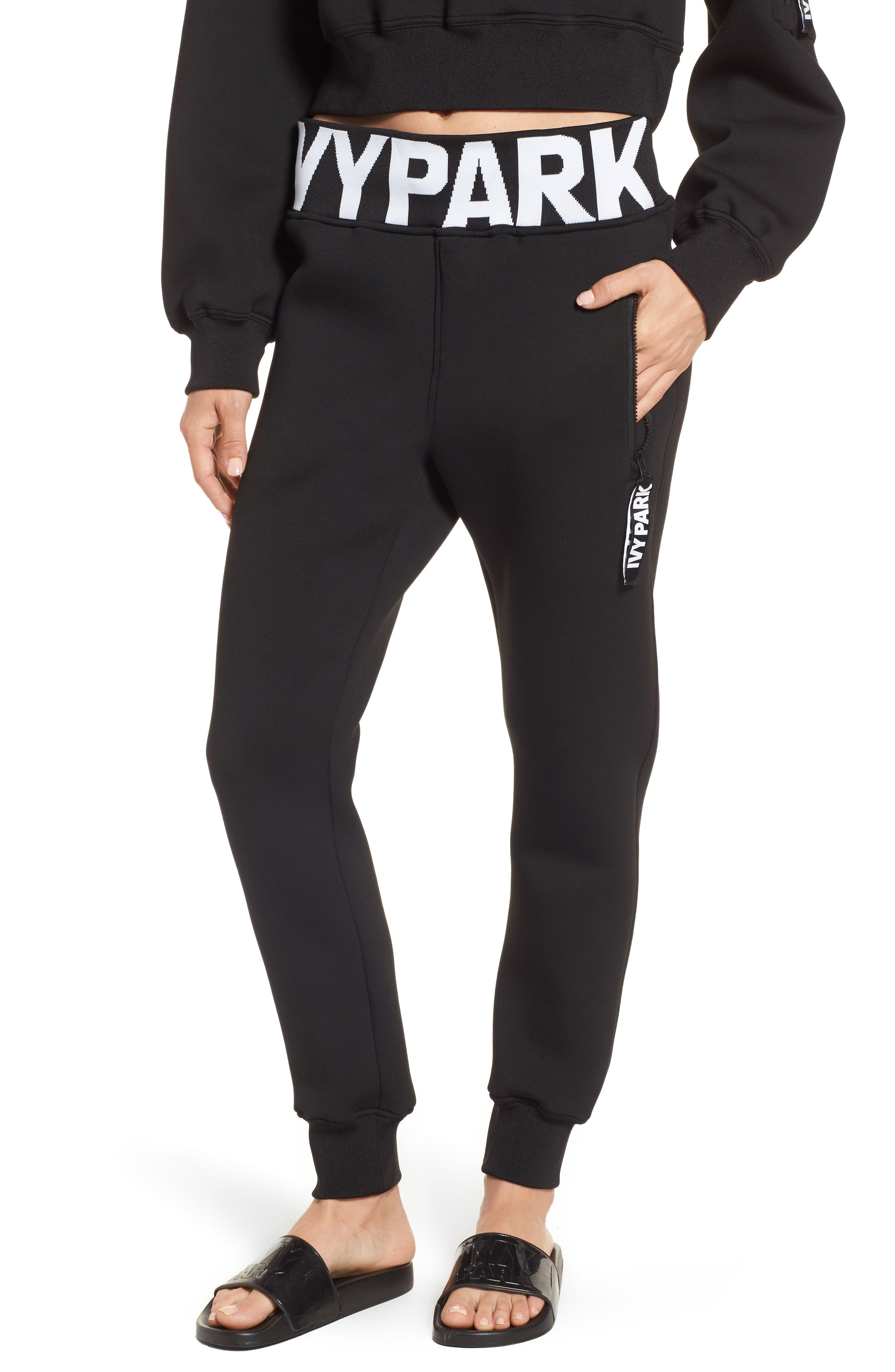 Logo Rib Jogger Pants,                             Main thumbnail 1, color,                             Black