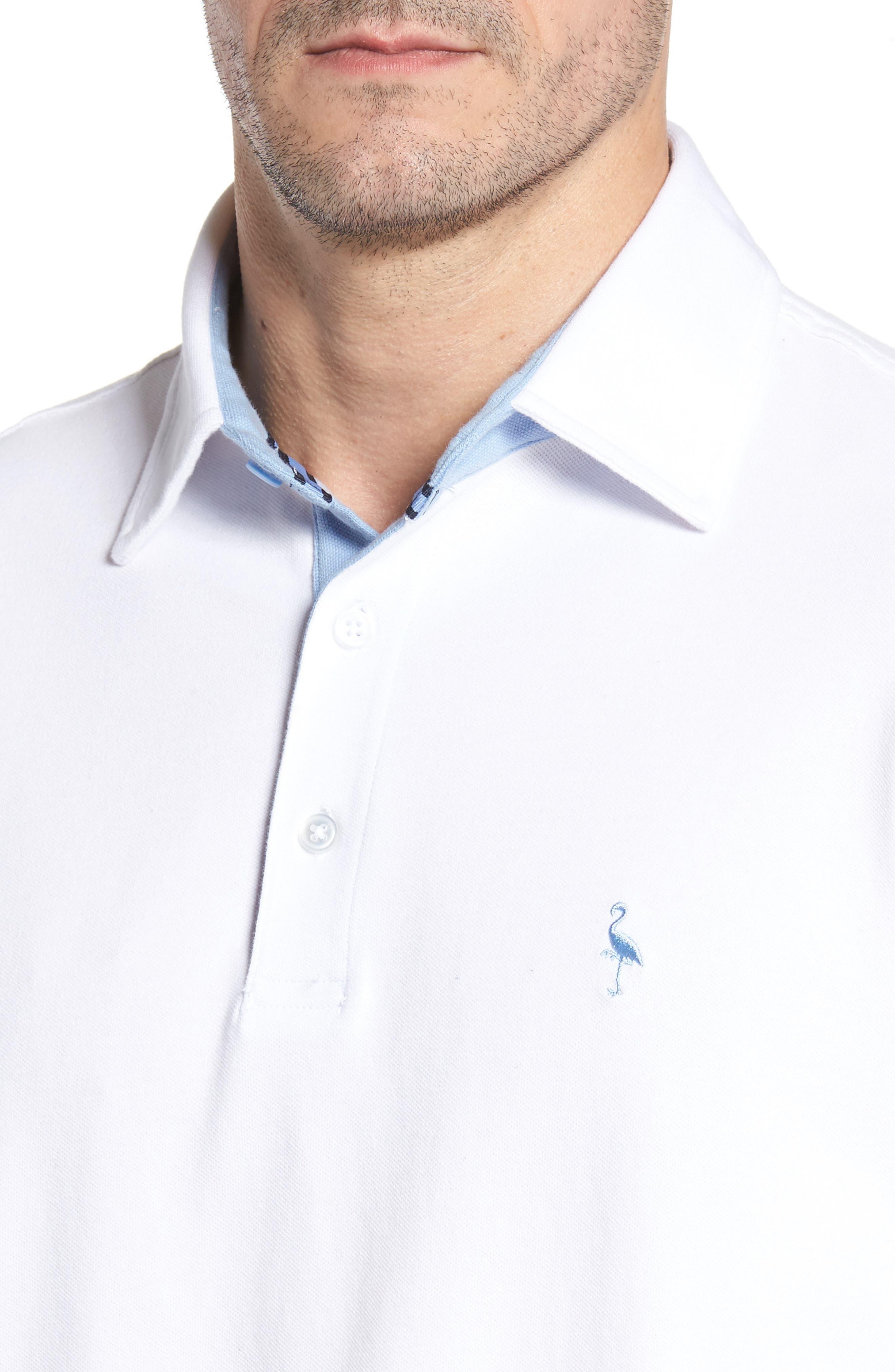 Two-Tone Piqué Knit Polo,                             Alternate thumbnail 4, color,                             Pure White