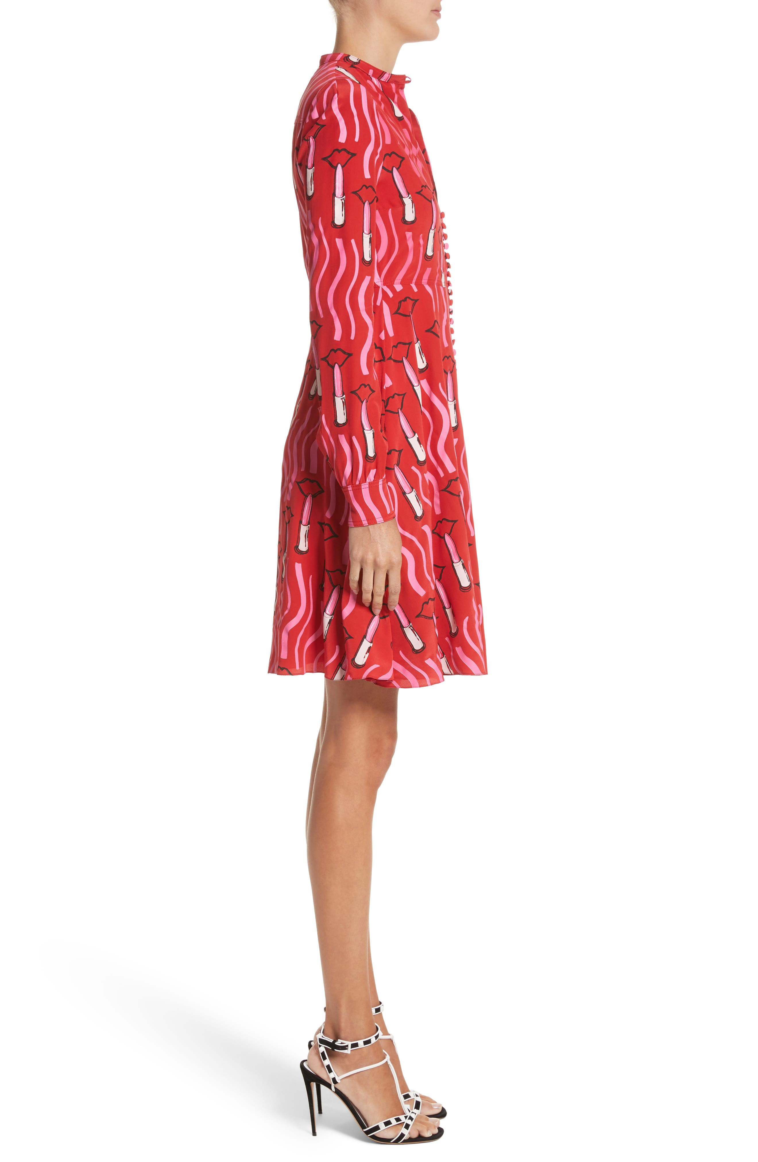 Alternate Image 3  - Valentino Lipstick Print Silk Fit & Flare Dress