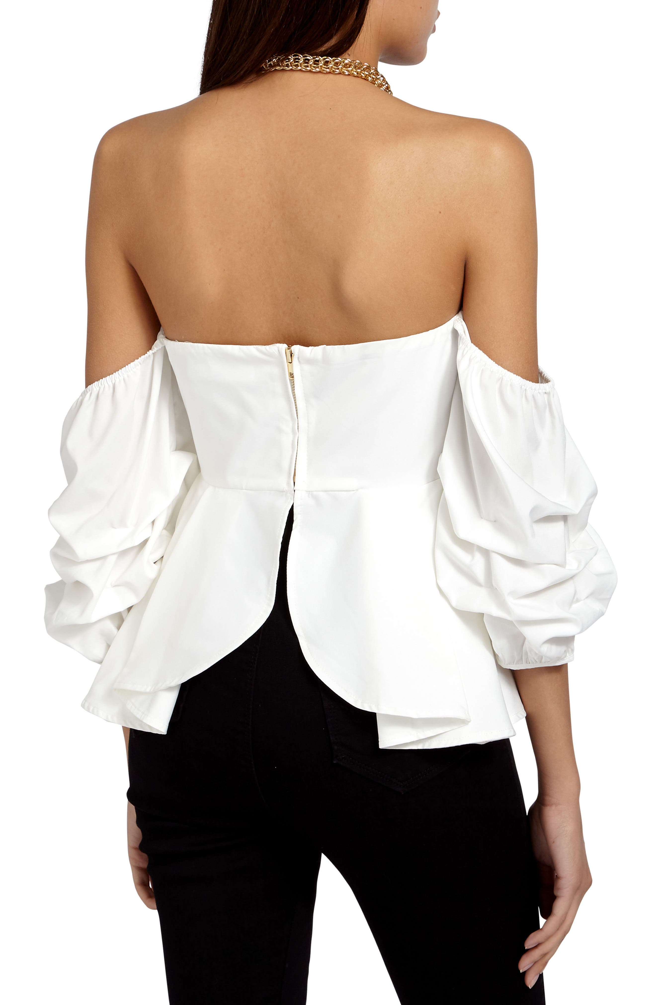 Off the Shoulder Ruffle Crop Top,                             Alternate thumbnail 2, color,                             Cream