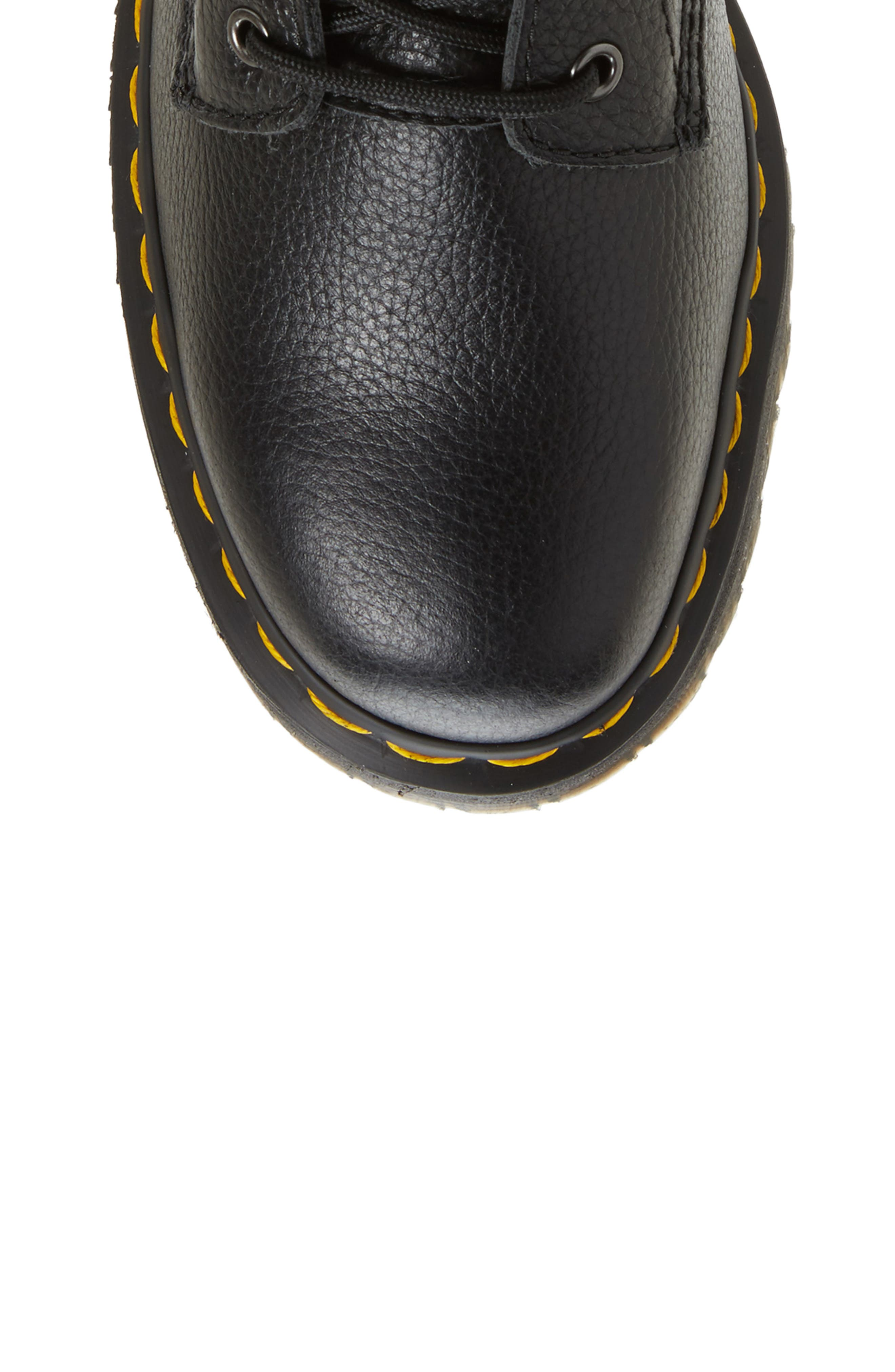 Jagger Combat Boot,                             Alternate thumbnail 5, color,                             Black Leather