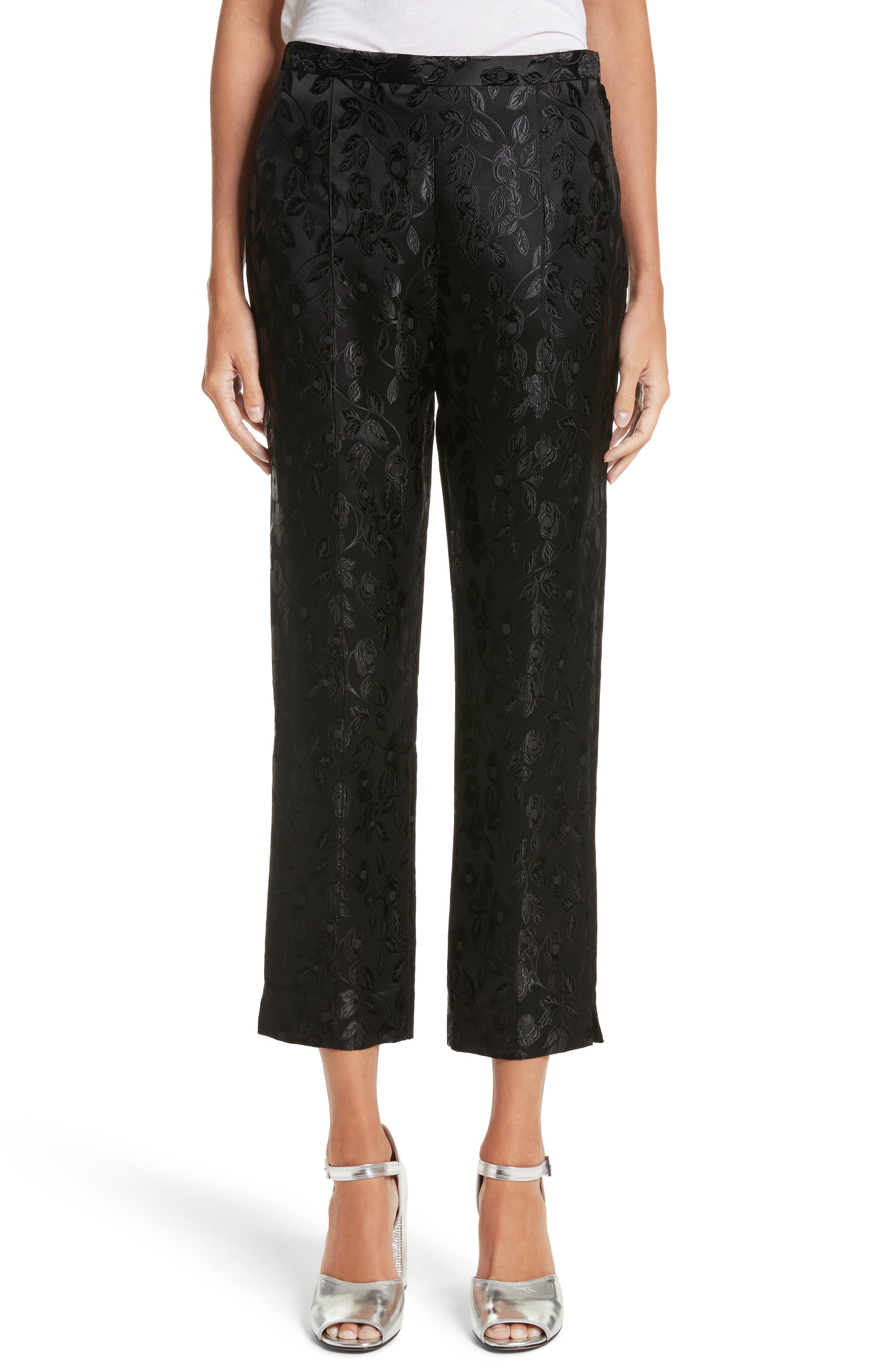 Jacquard Crop Pants,                             Main thumbnail 1, color,                             Black