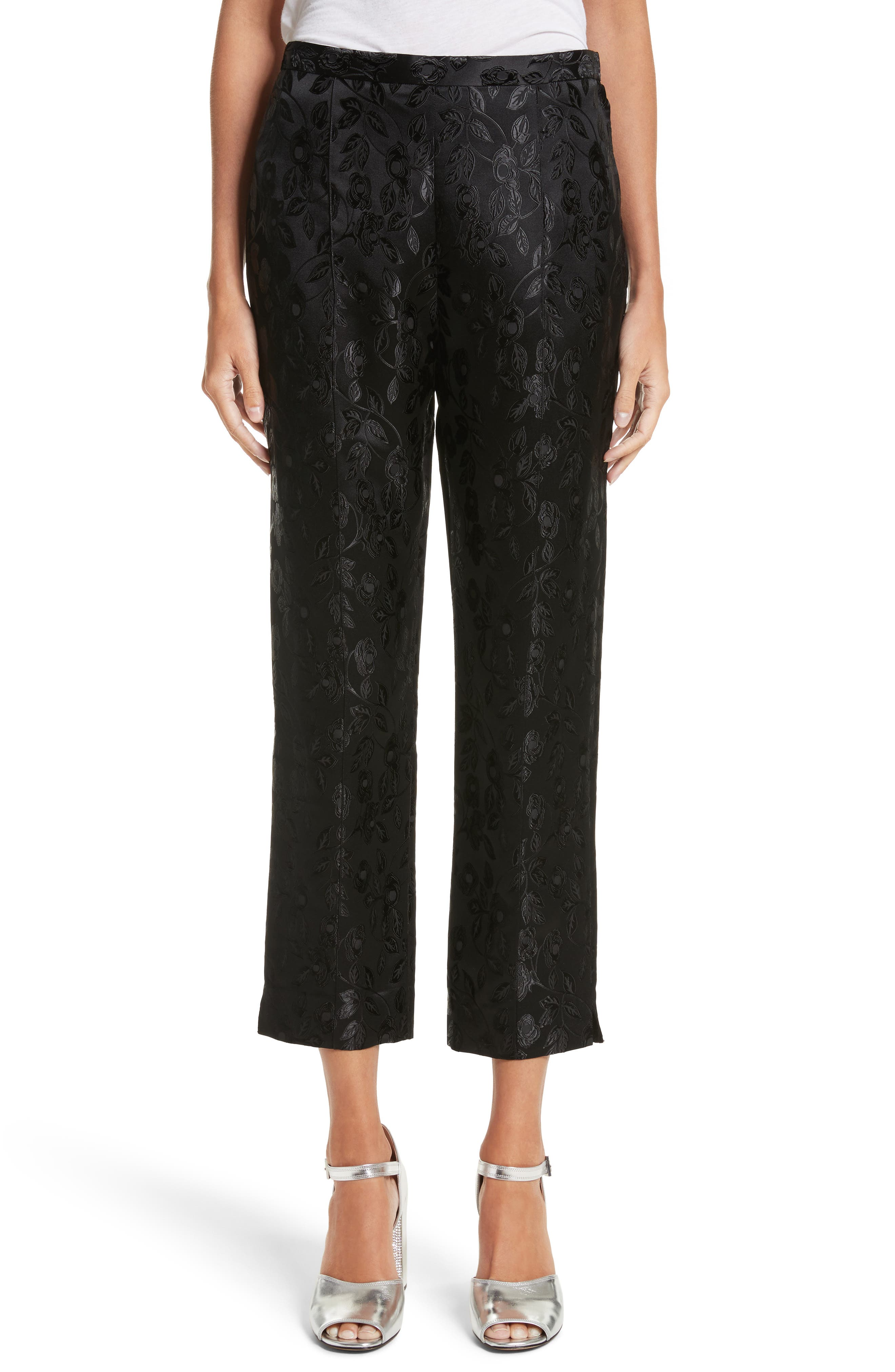 Jacquard Crop Pants,                         Main,                         color, Black
