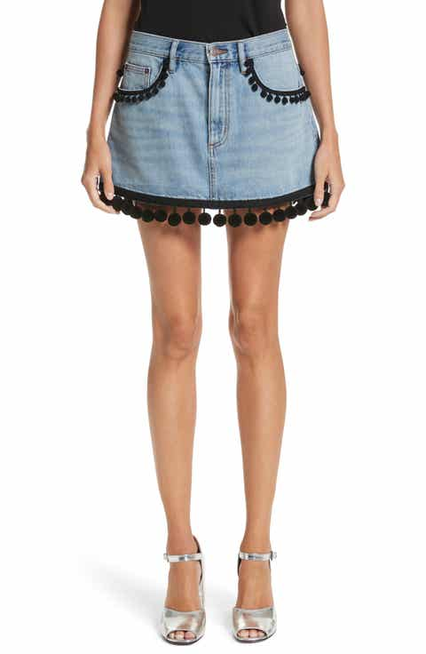 MARC JACOBS Pompom Trim Denim Miniskirt