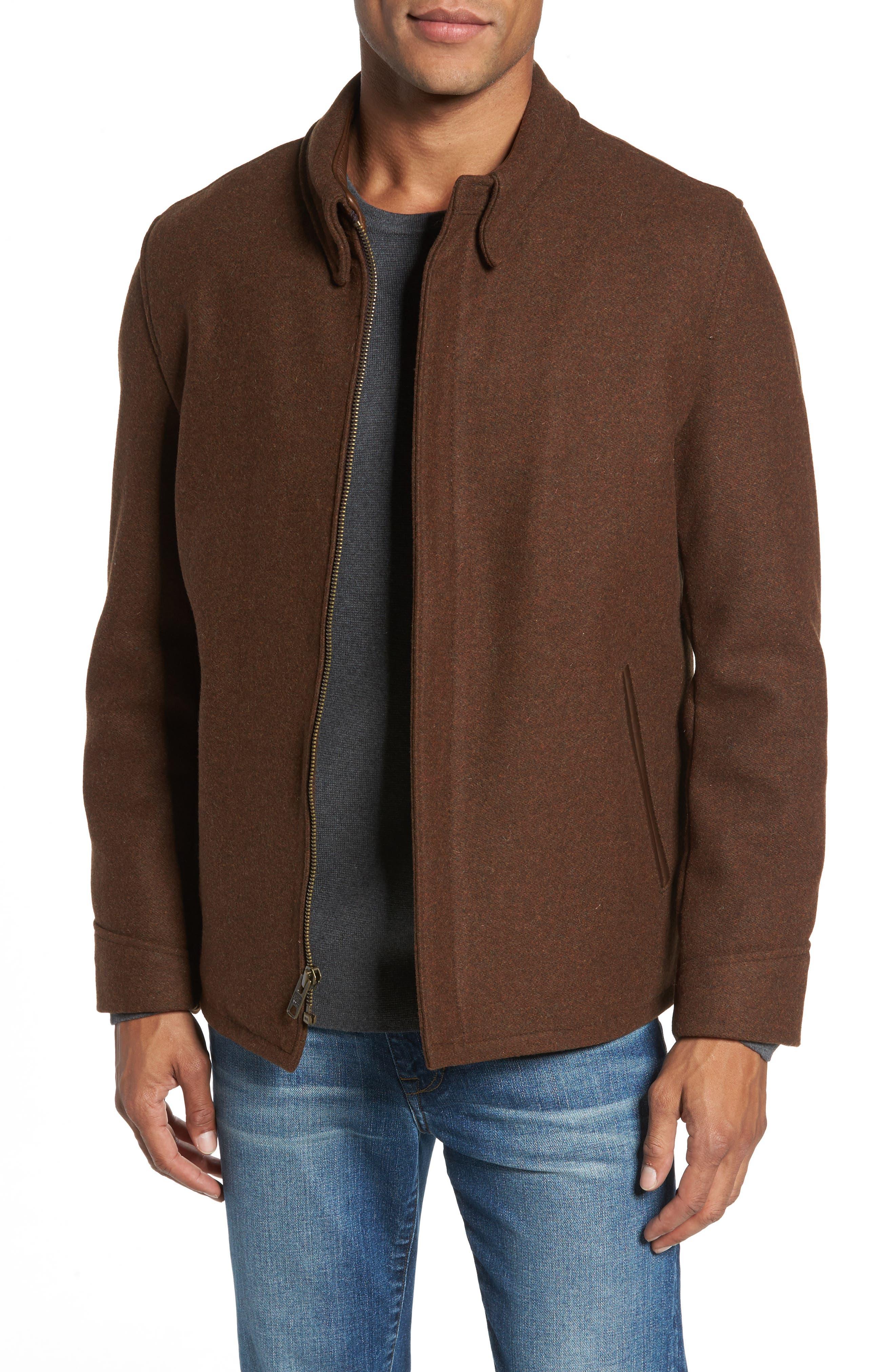 Liberty Wool Blend Zip Front Jacket,                             Main thumbnail 1, color,                             Brown