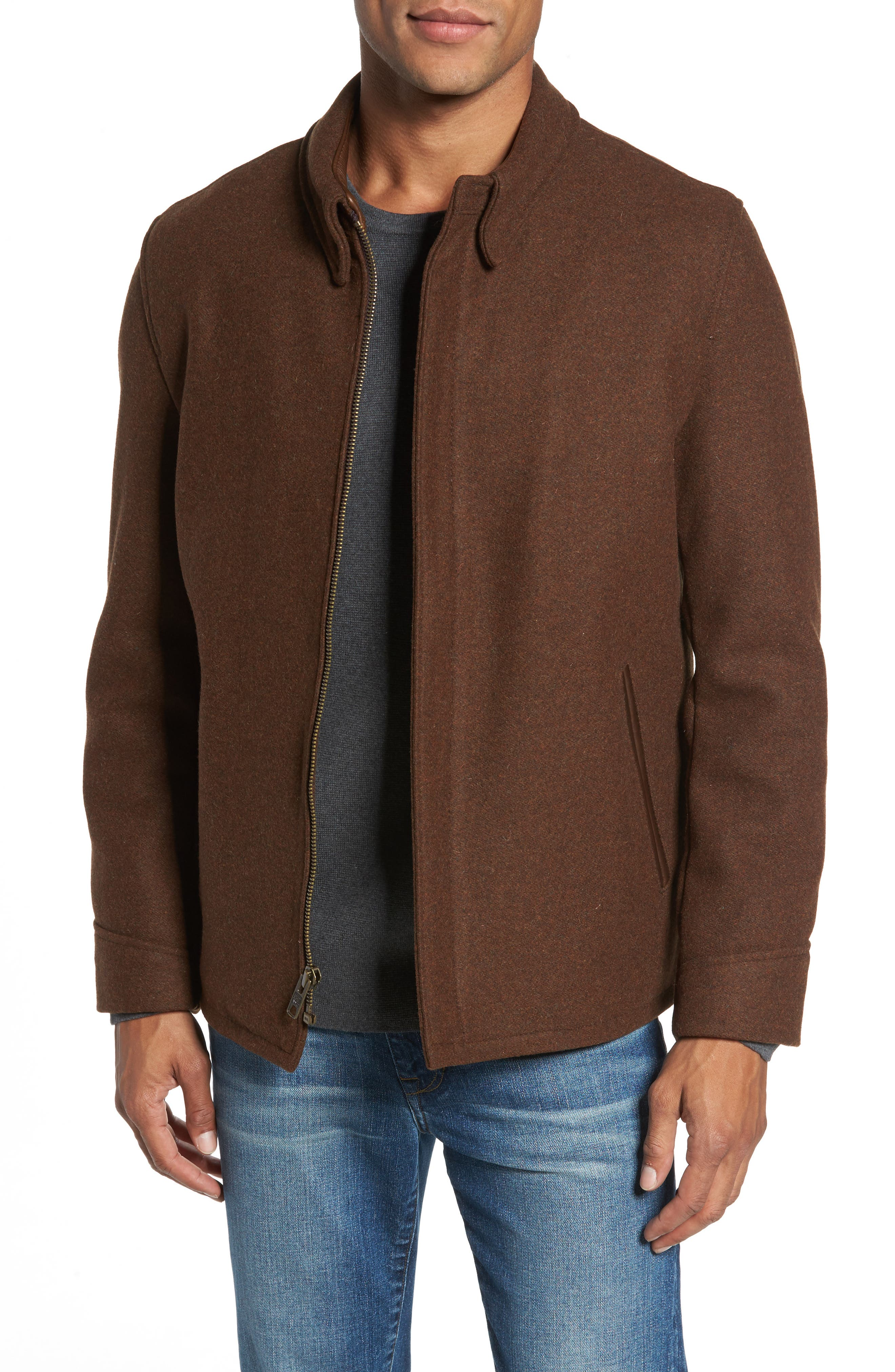 Liberty Wool Blend Zip Front Jacket,                         Main,                         color, Brown