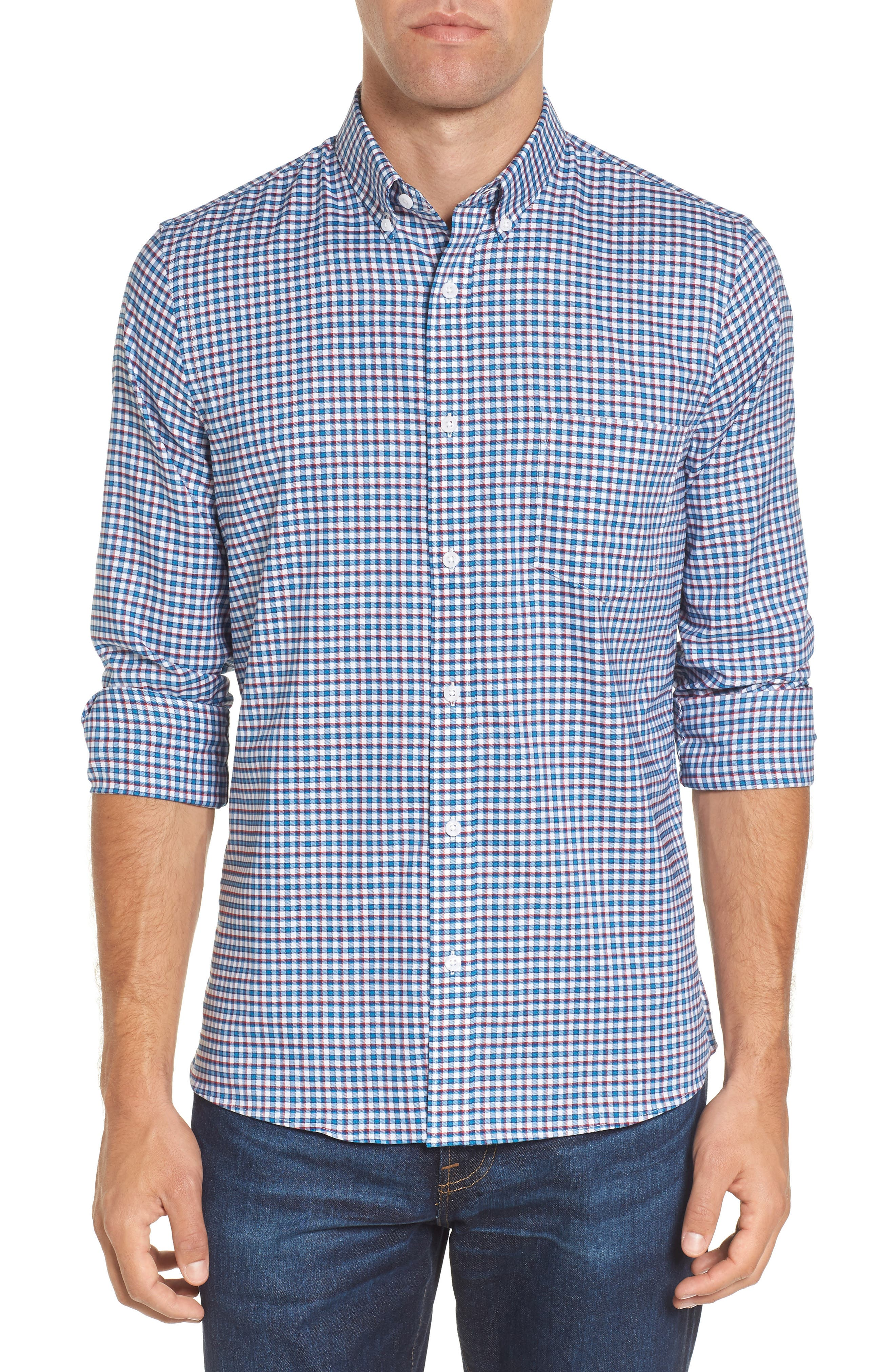 Slim Fit Tech-Smart Mini Check Sport Shirt,                         Main,                         color, Blue Estate White Mini Check