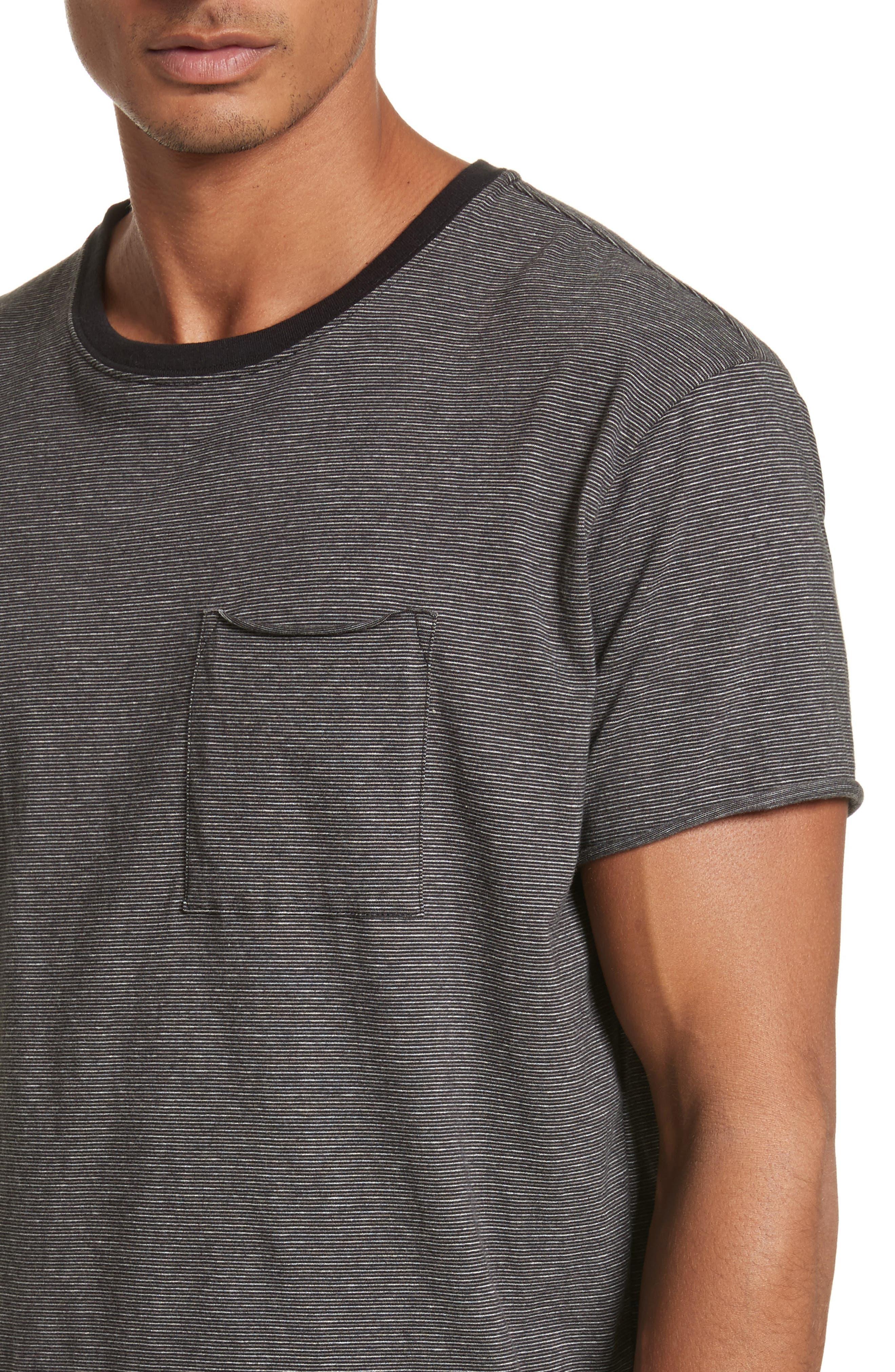 Oversize Stripe Pocket T-Shirt,                             Alternate thumbnail 4, color,                             Black