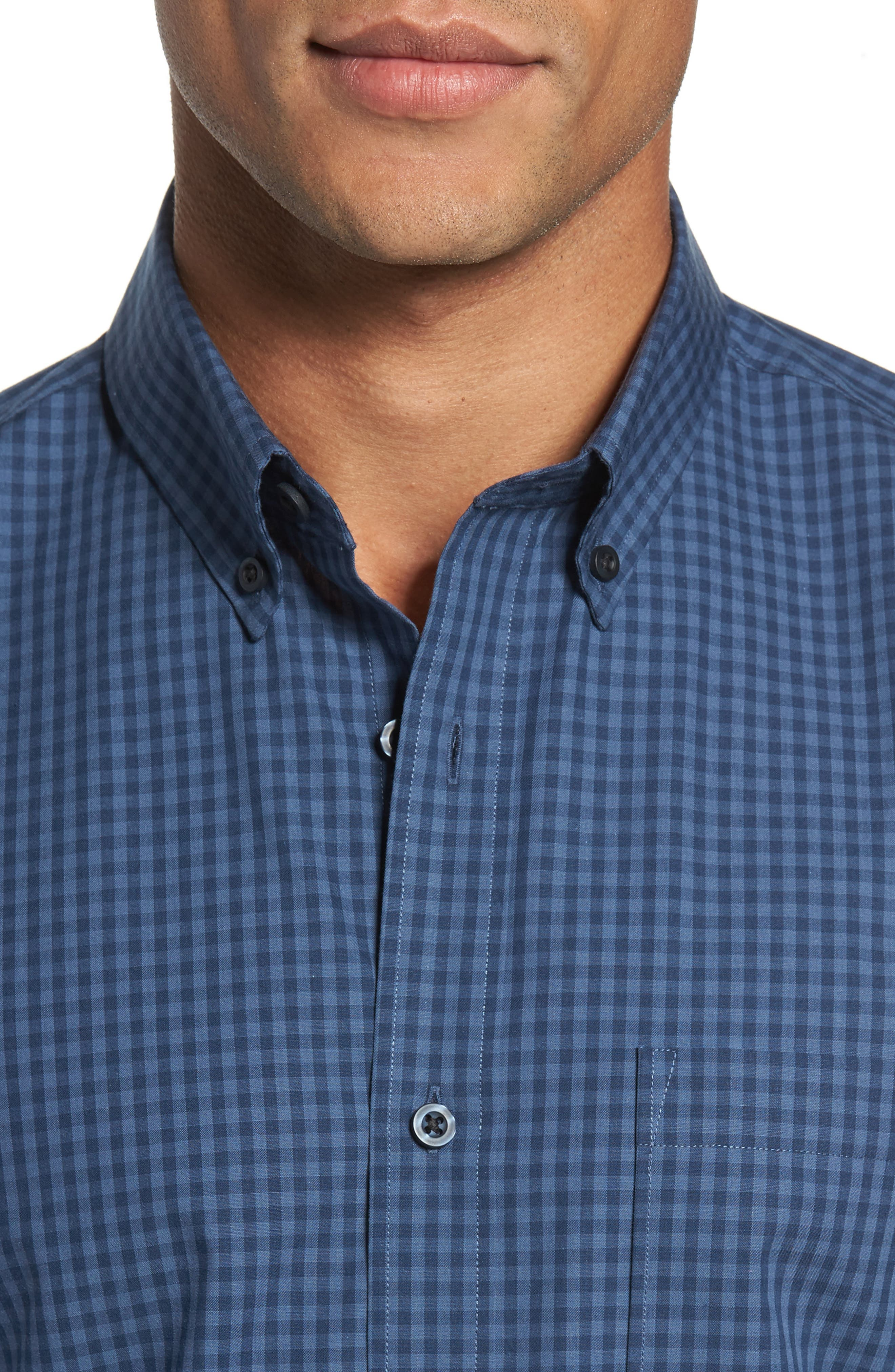 Trim Fit Non-Iron Gingham Sport Shirt,                             Alternate thumbnail 4, color,                             Blue Vintage Navy Gingham