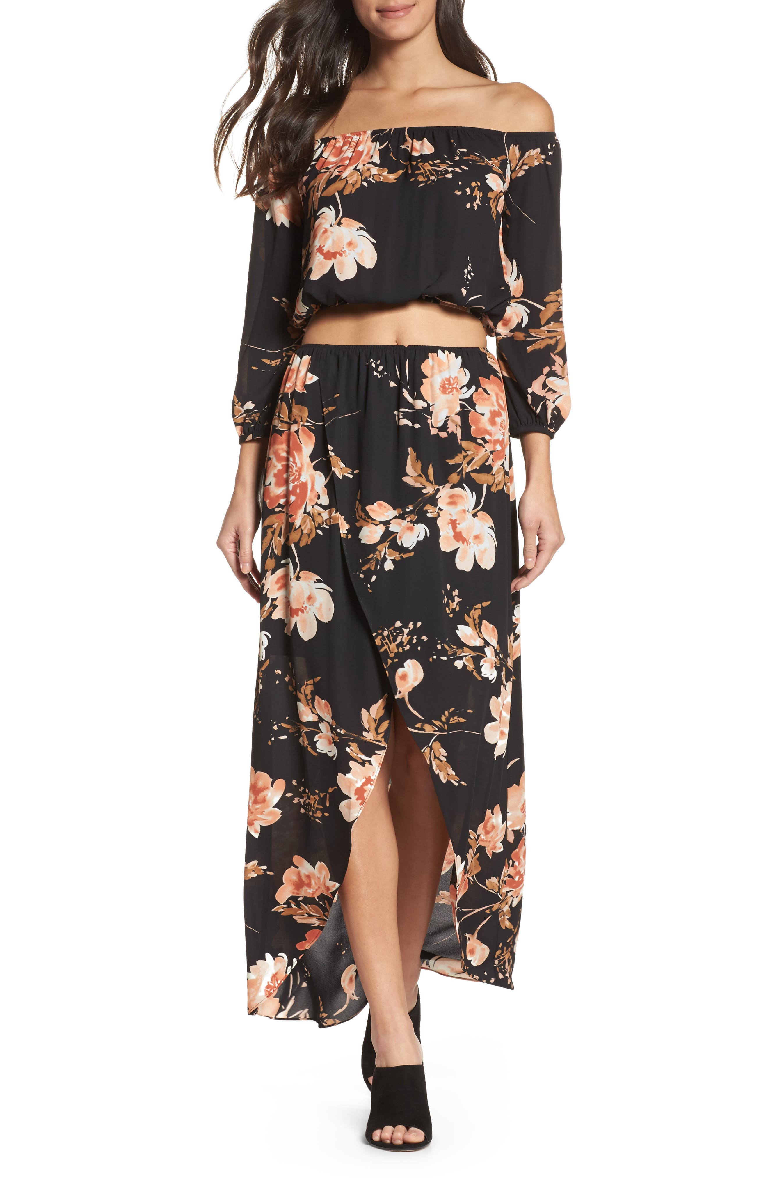 Floral Fever Two-Piece Dress,                         Main,                         color, Blushing Rust Roses