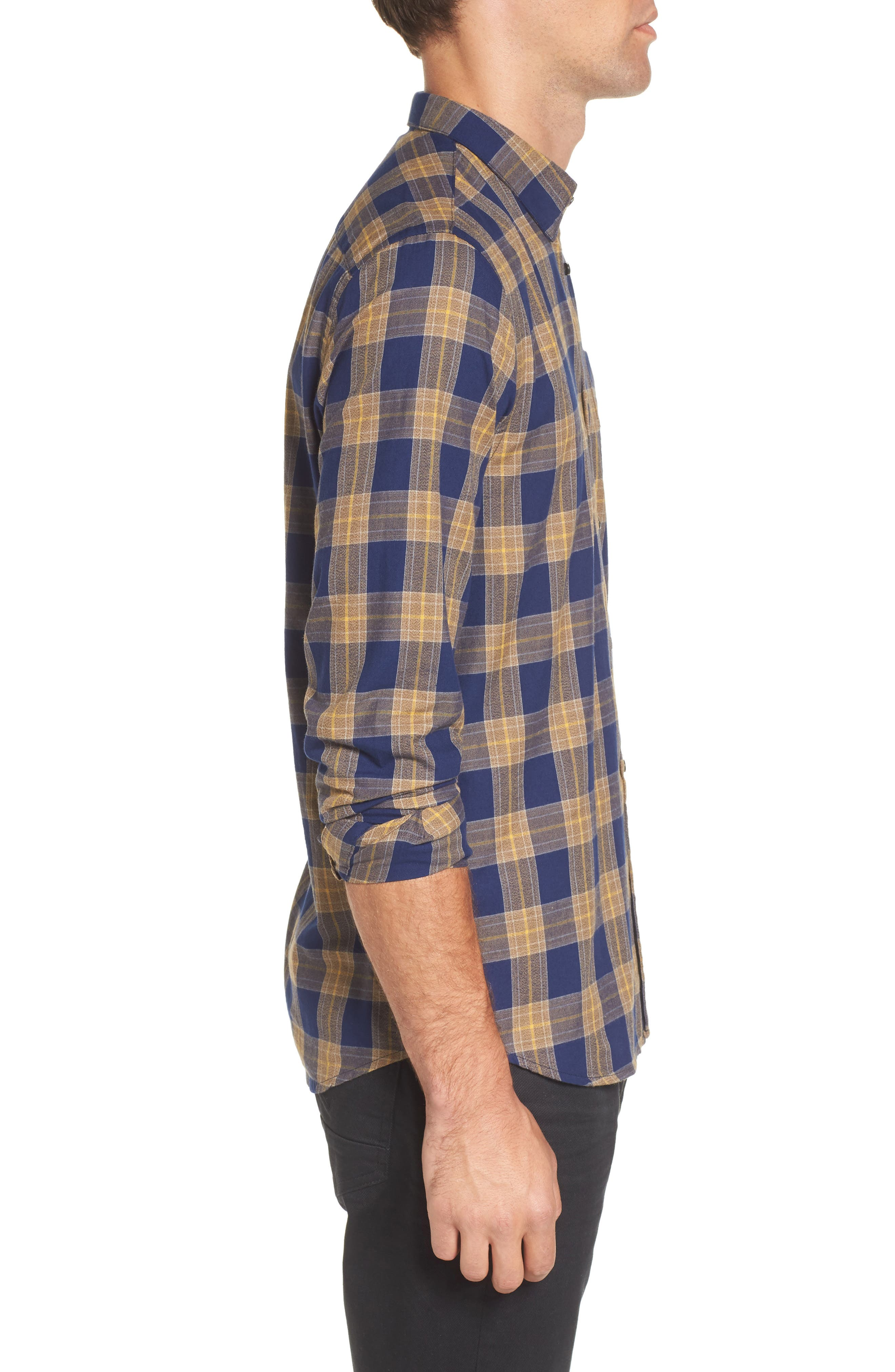 Scotch & Sode Brushed Cotton Shirt,                             Alternate thumbnail 3, color,                             Blue