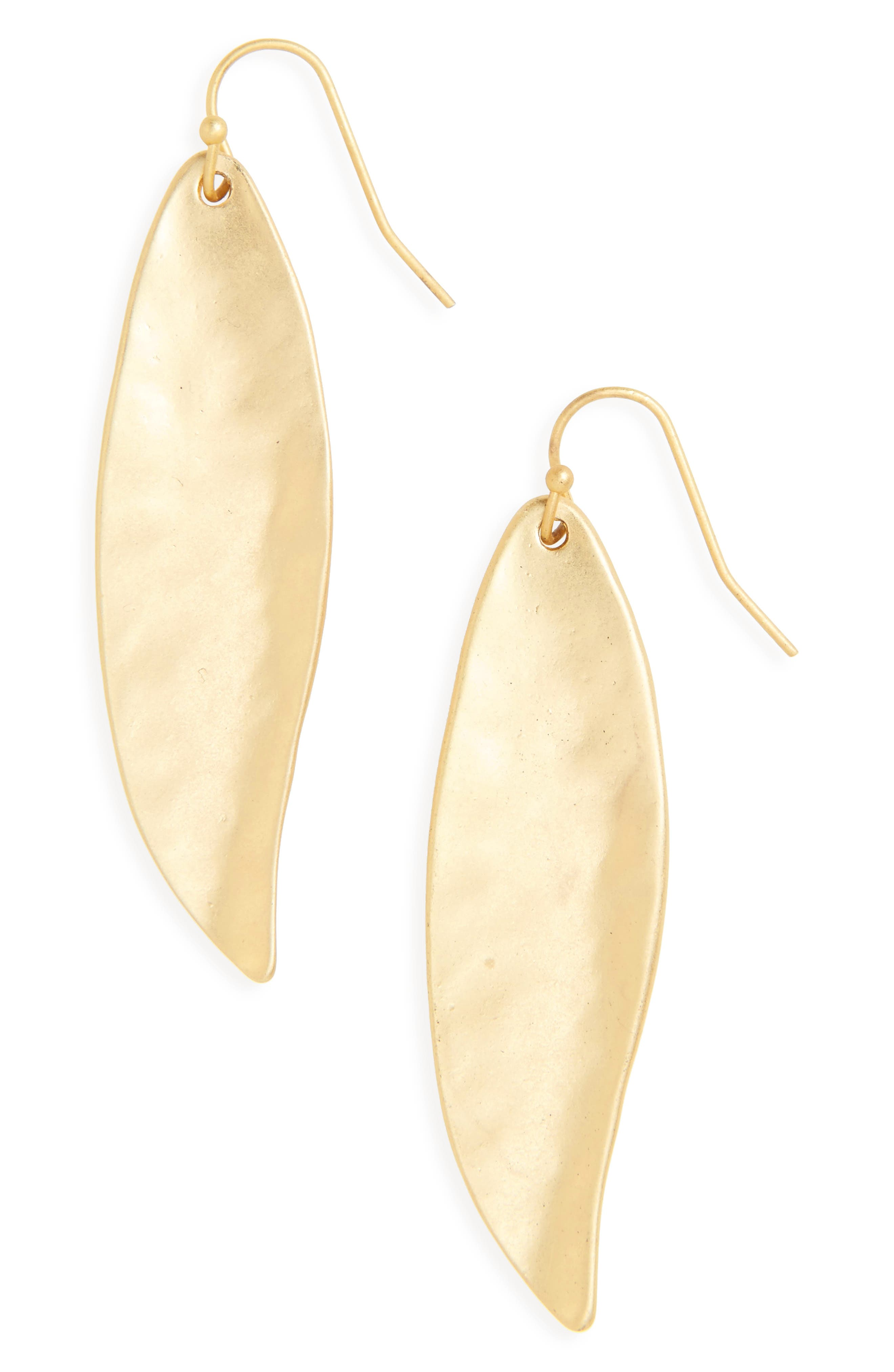 Ellipse Drop Earrings,                             Main thumbnail 1, color,                             Worn Gold