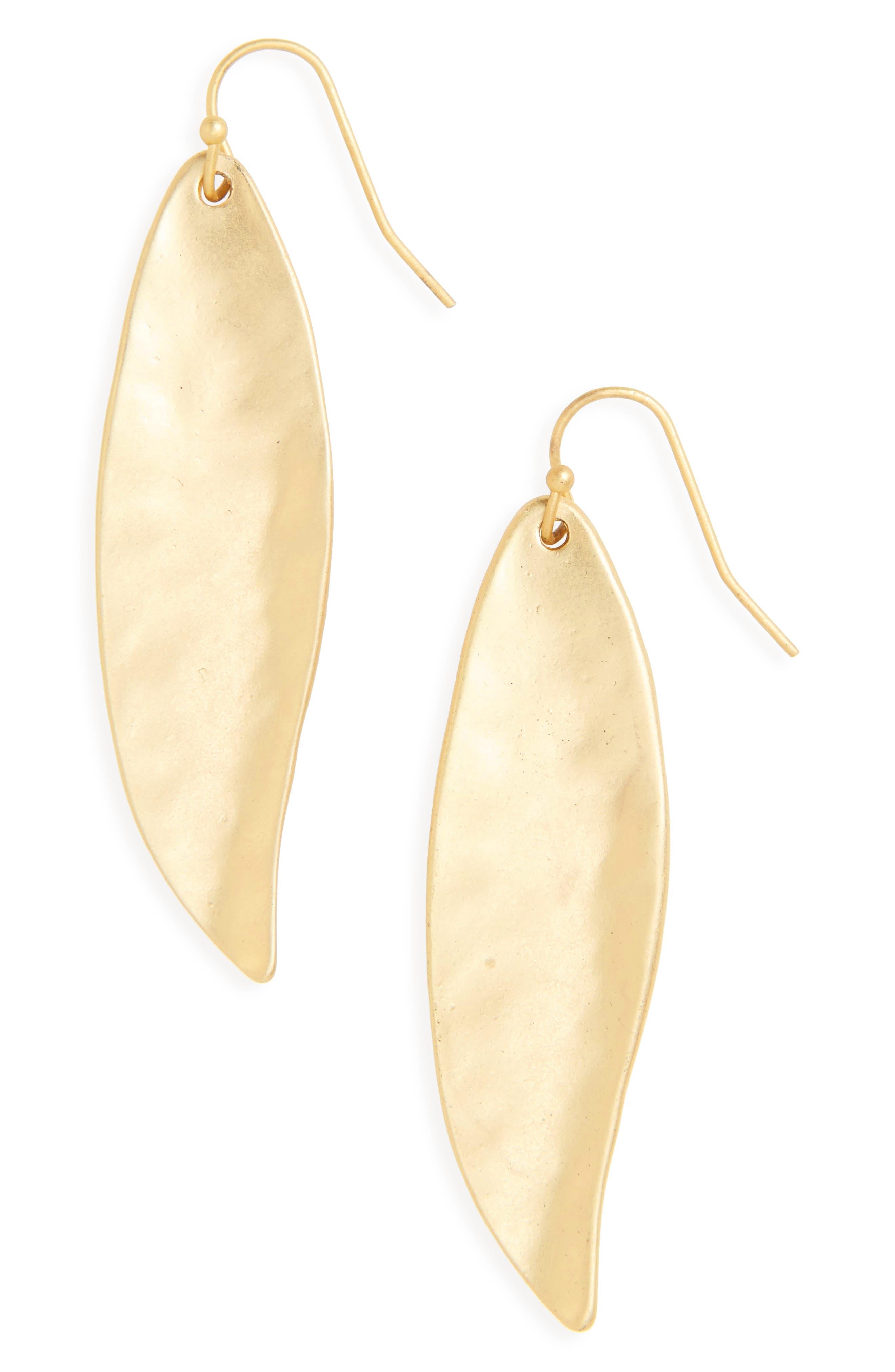 Ellipse Drop Earrings,                         Main,                         color, Worn Gold
