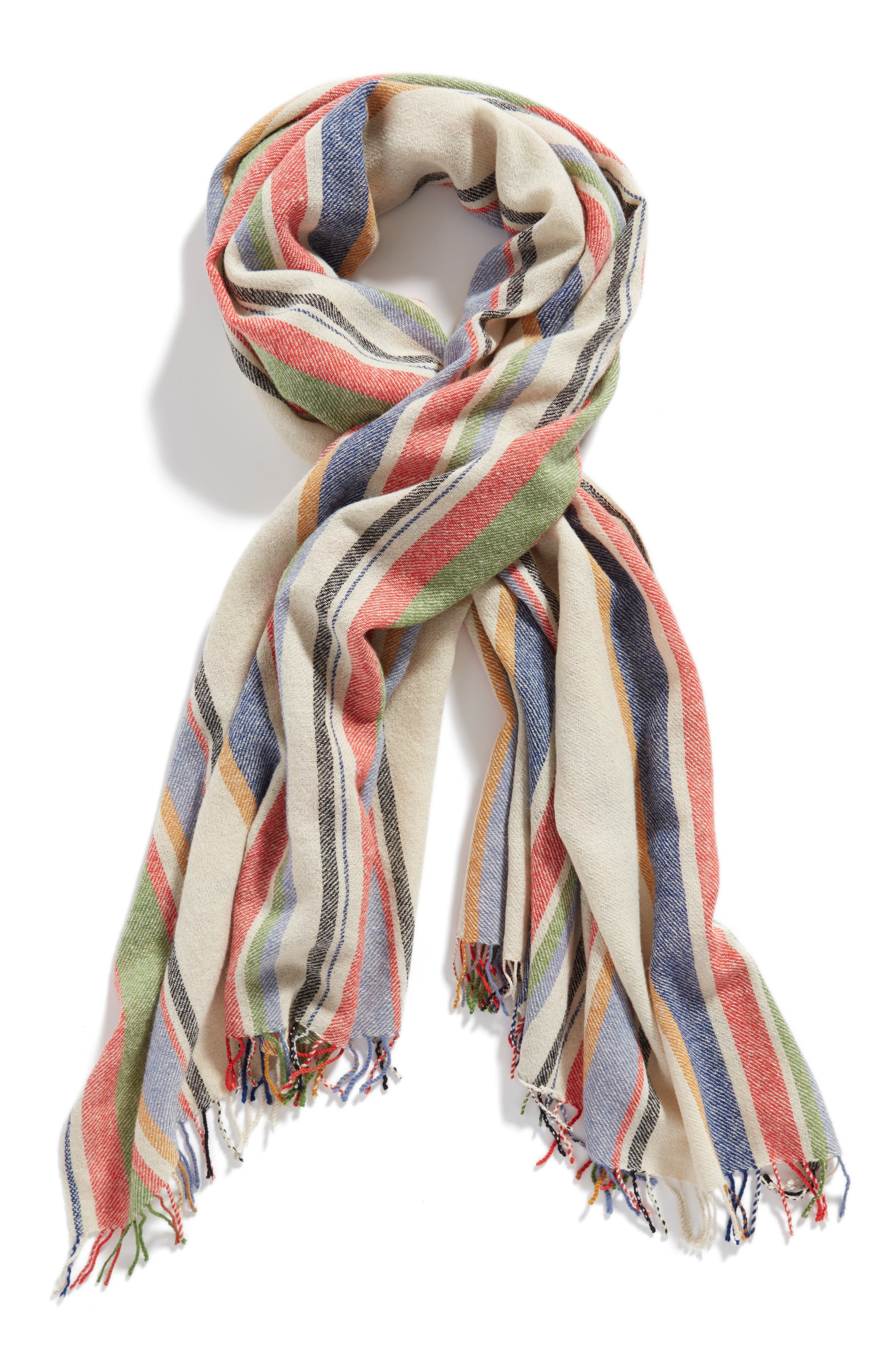 Variance Wool & Cashmere Scarf,                             Alternate thumbnail 3, color,                             Ivory Multi