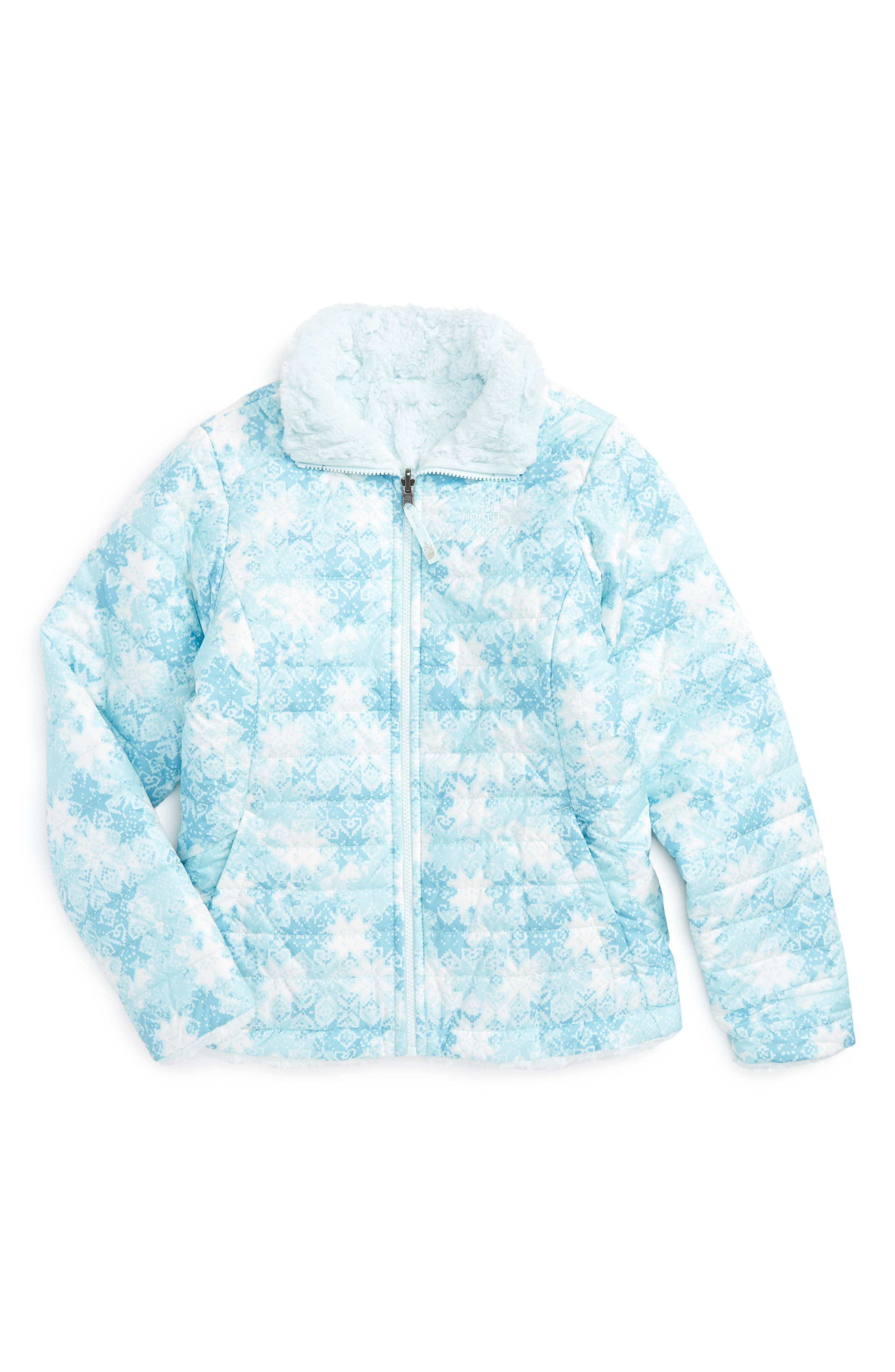 Mossbud Reversible Heatseeker<sup>™</sup> Wind Resistant Jacket,                         Main,                         color, Origin Blue Snowflake