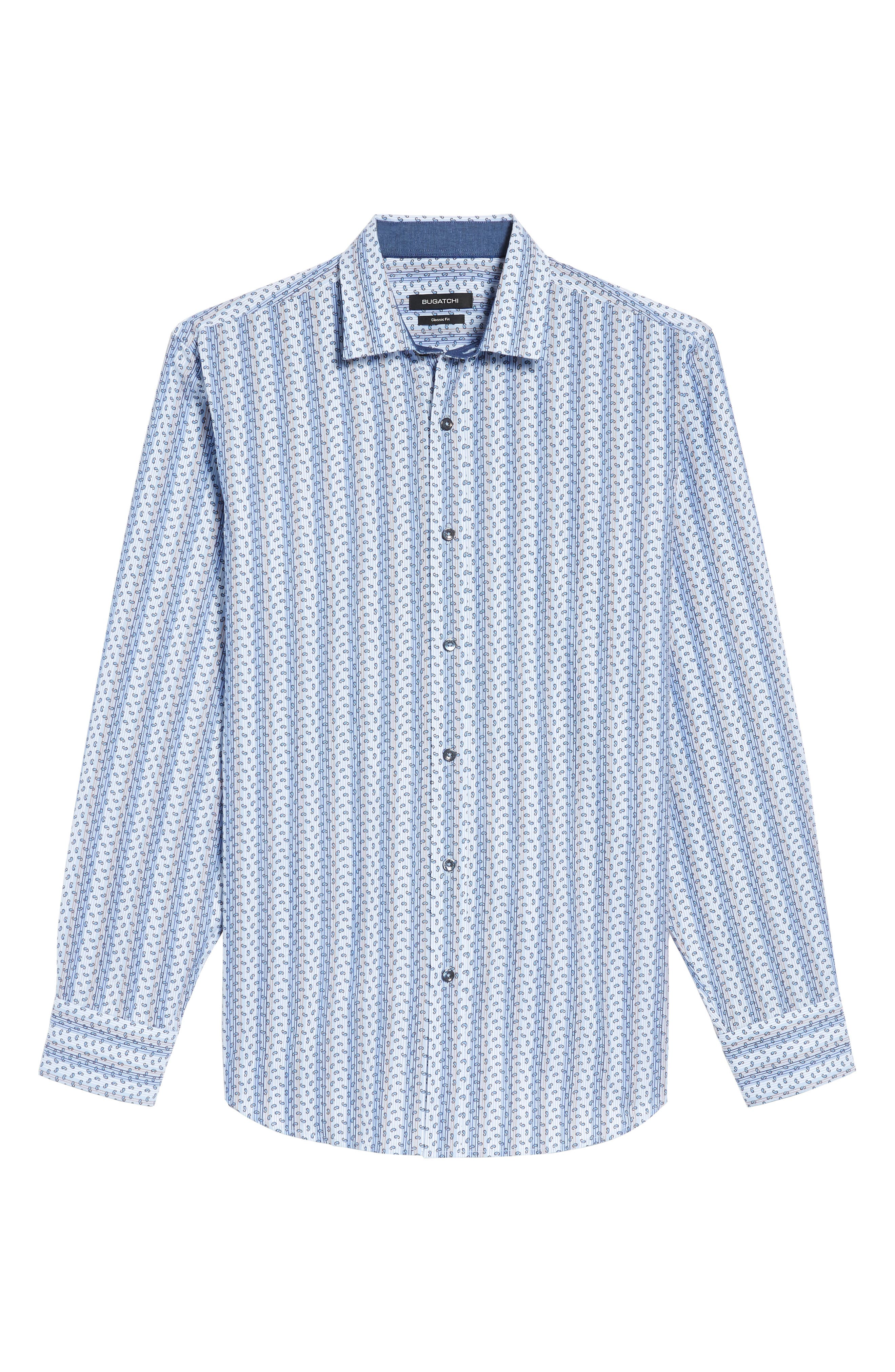 Classic Fit Paisley Striped Sport Shirt,                             Alternate thumbnail 6, color,                             Classic Blue