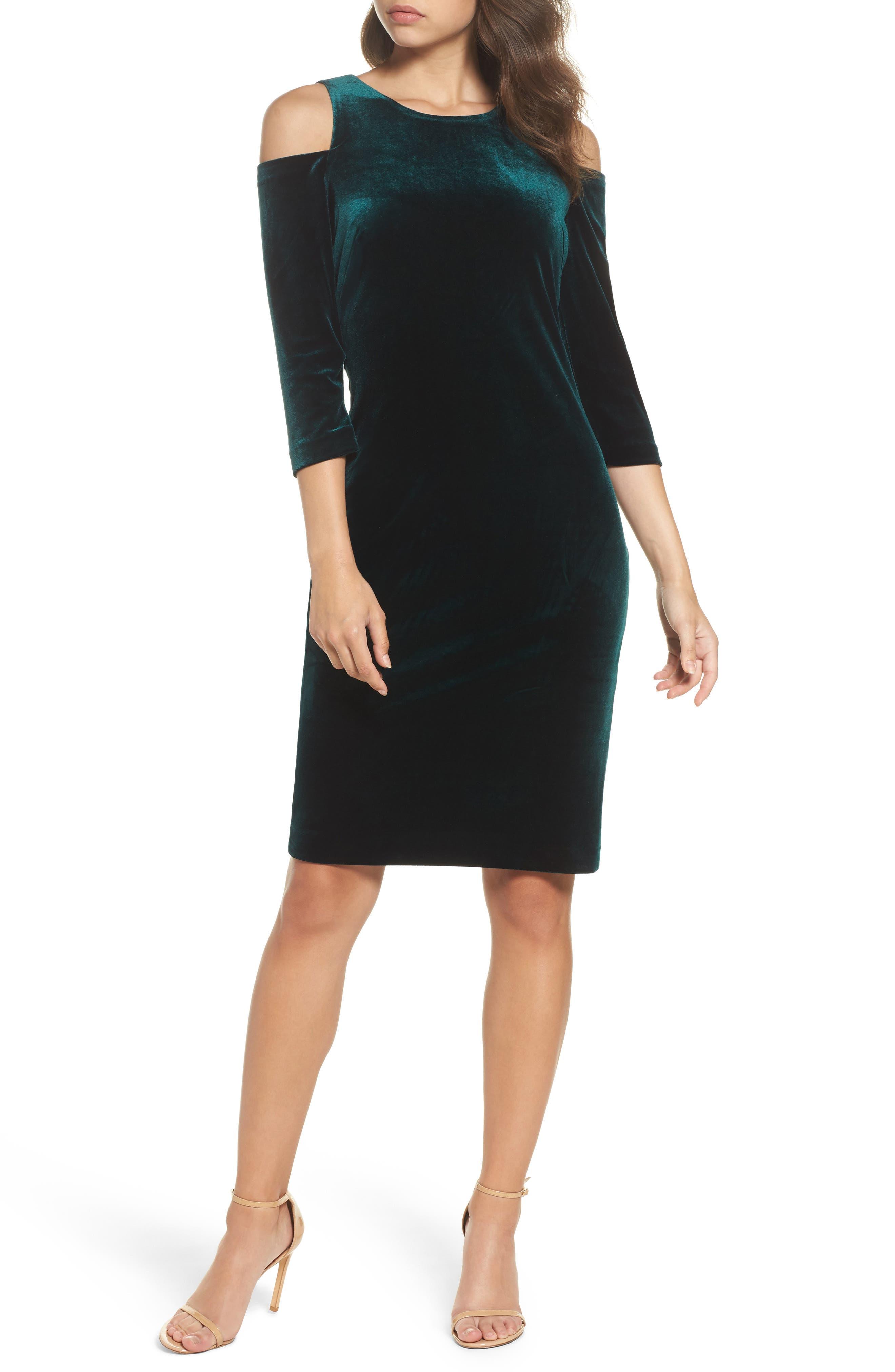 Cold Shoulder Velvet Sheath Dress,                         Main,                         color, Hunter