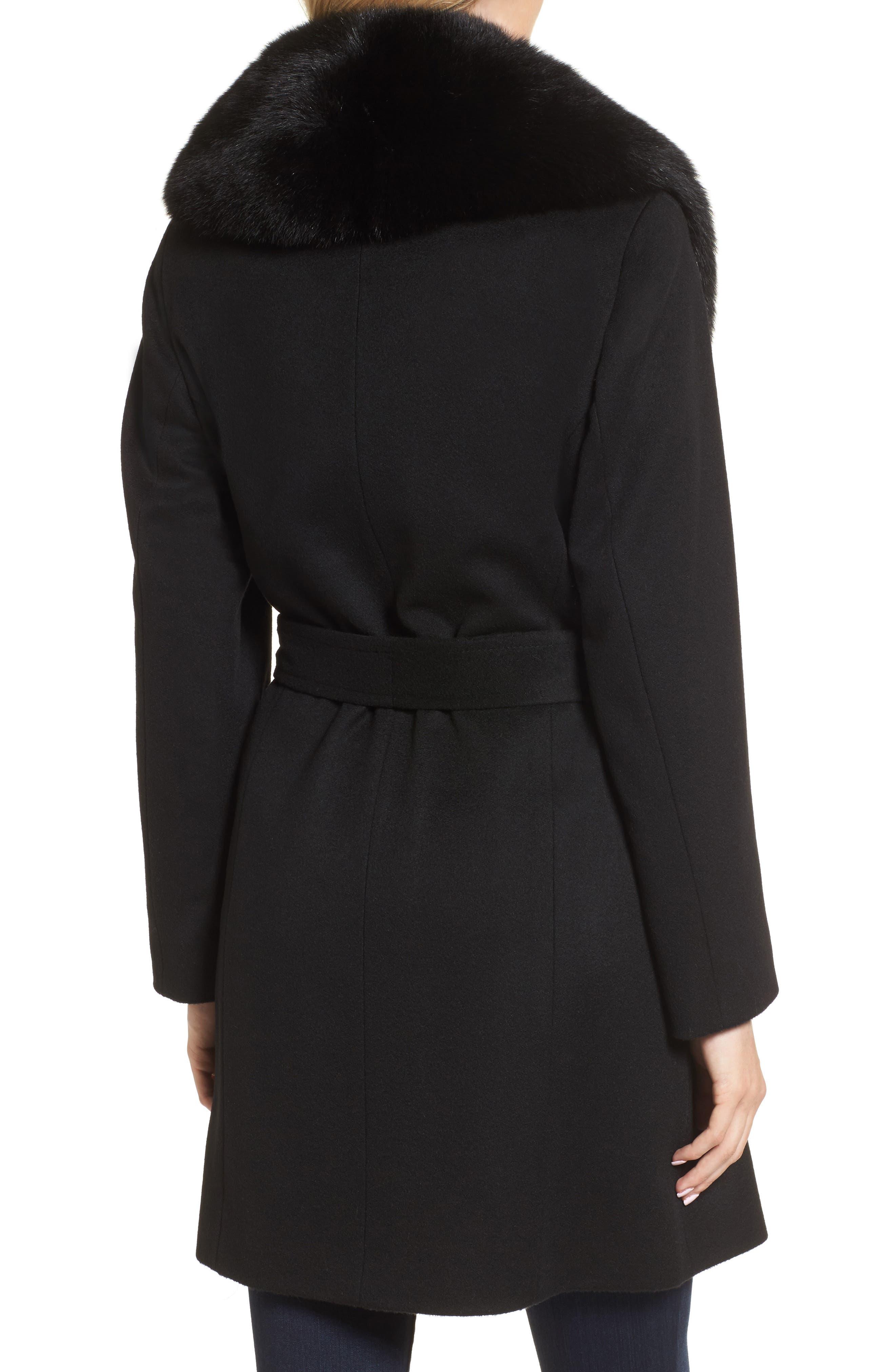 Genuine Fox Fur Lapel Wool & Cashmere Wrap Coat,                             Alternate thumbnail 2, color,                             Black