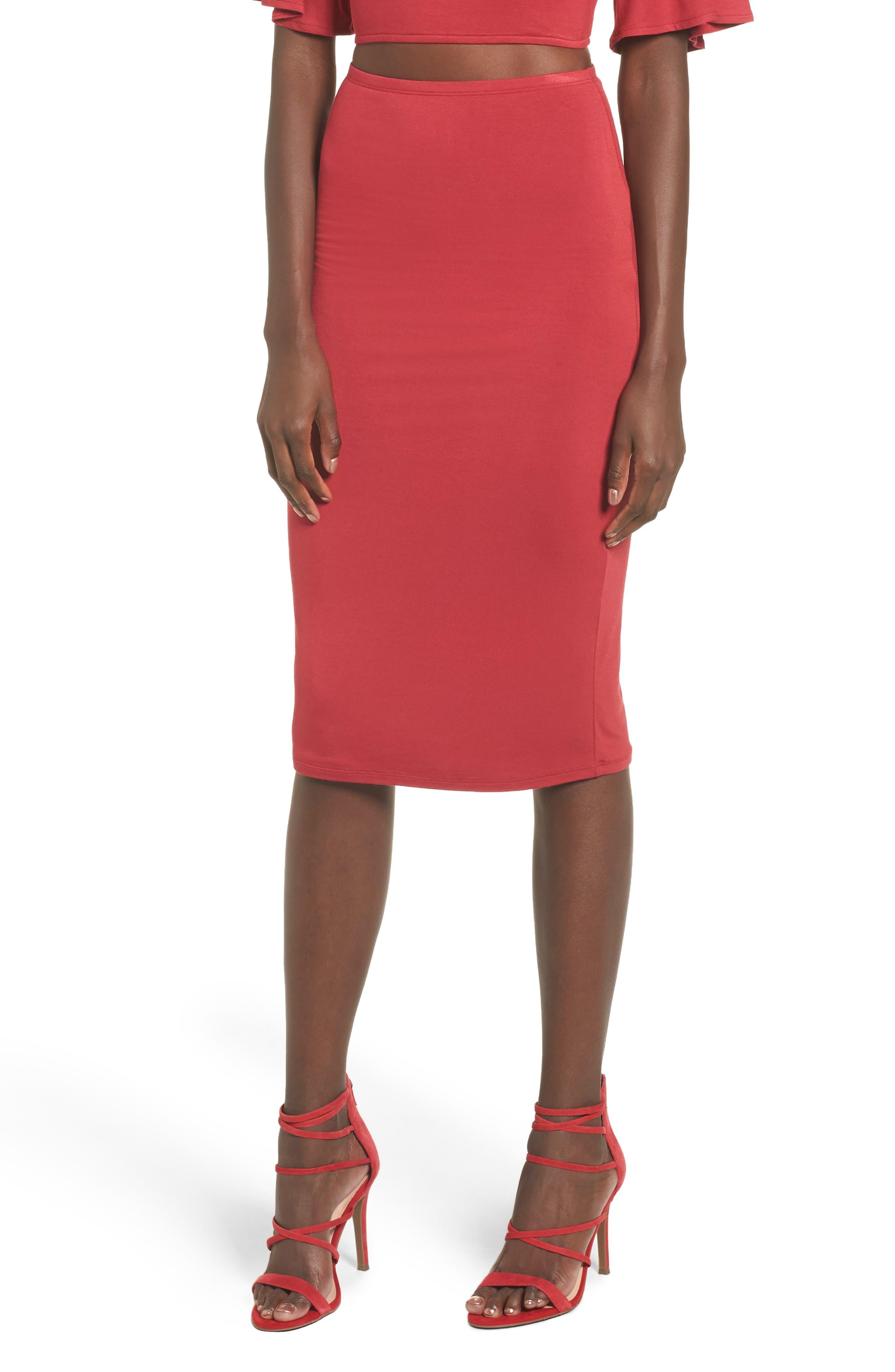 Canyon Midi Skirt,                         Main,                         color, Red