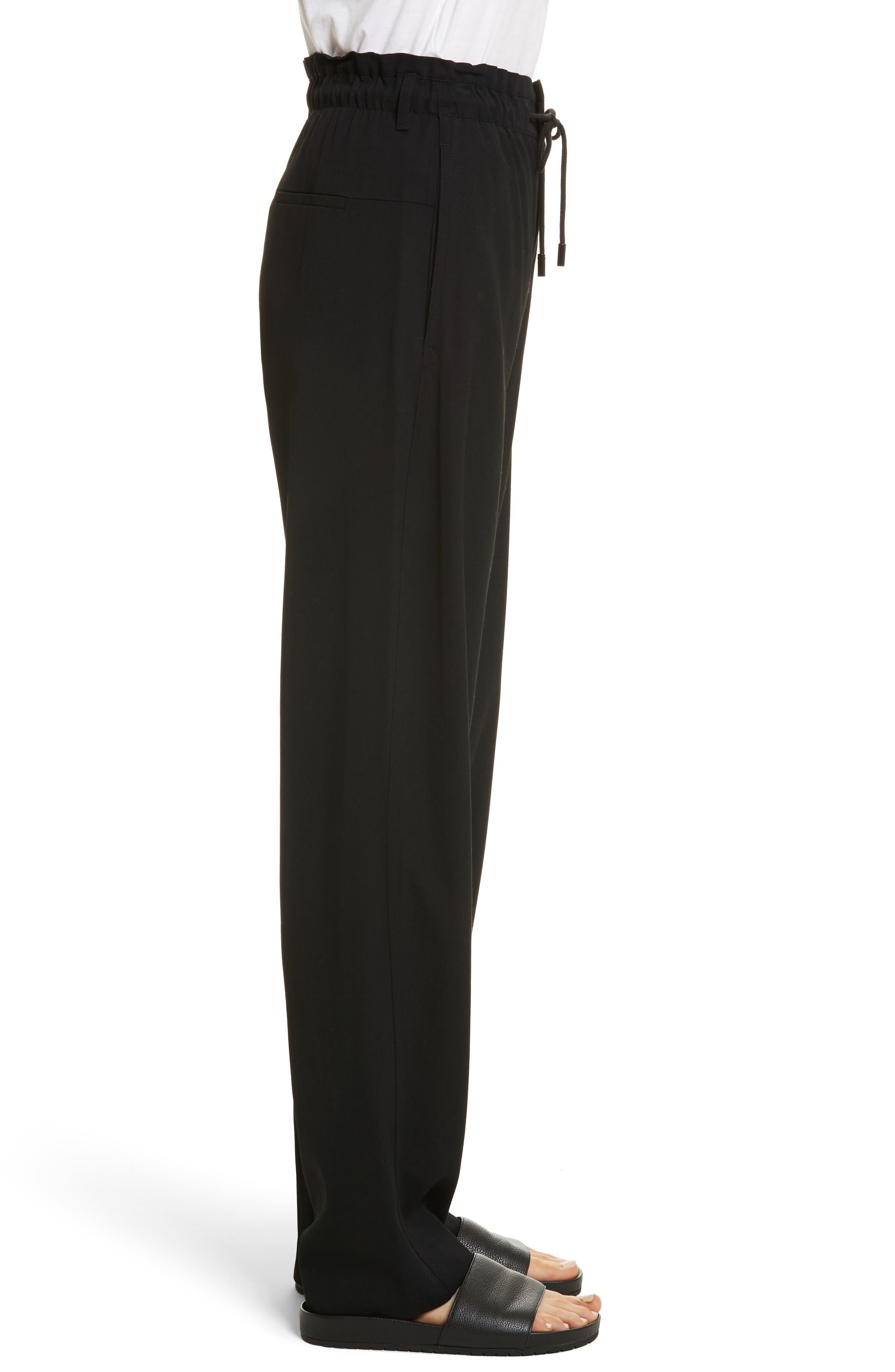 Drawstring Wide Leg Pants,                             Alternate thumbnail 3, color,                             Black