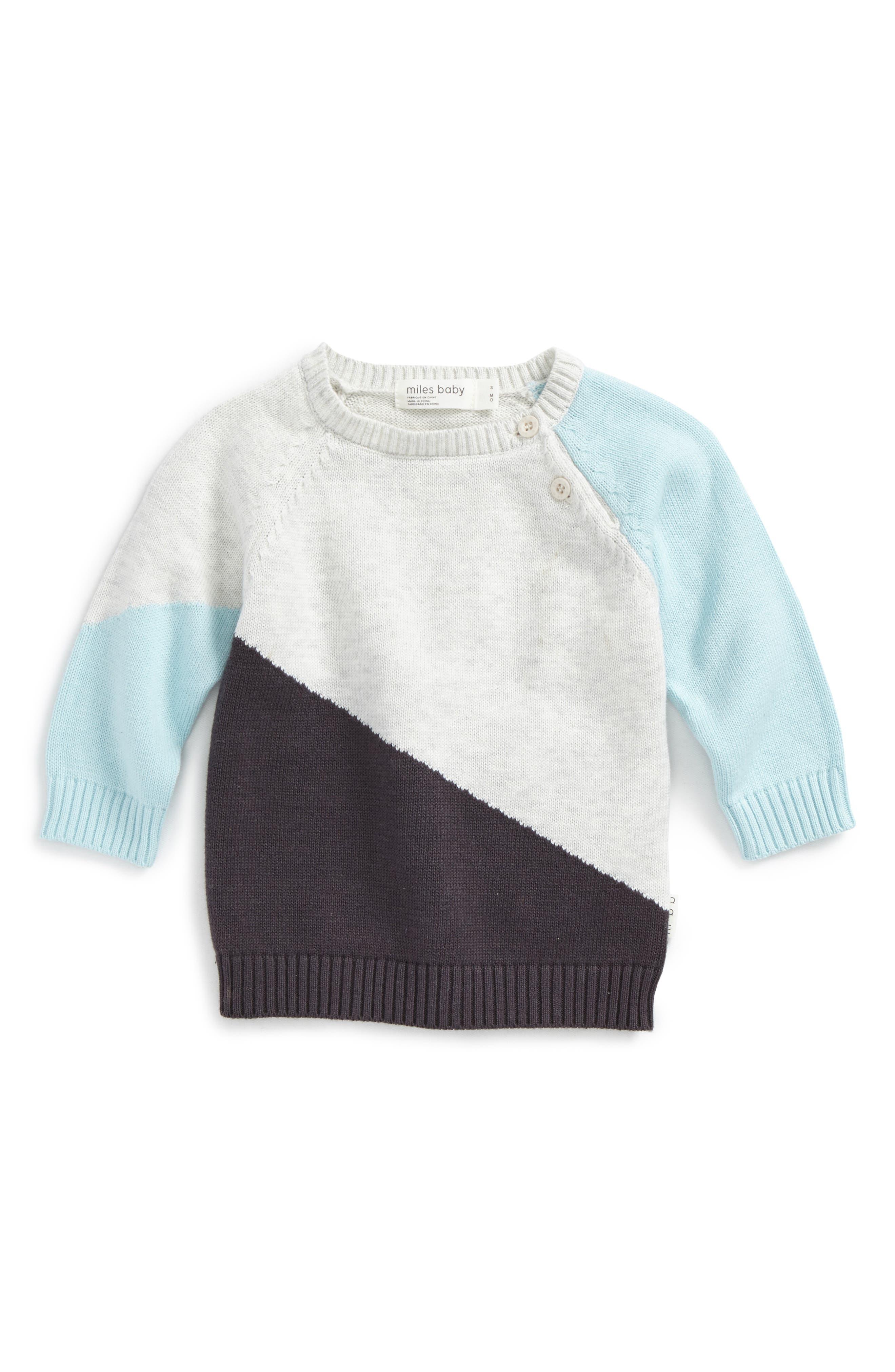 Color Block Sweater,                             Main thumbnail 1, color,                             Heather Grey