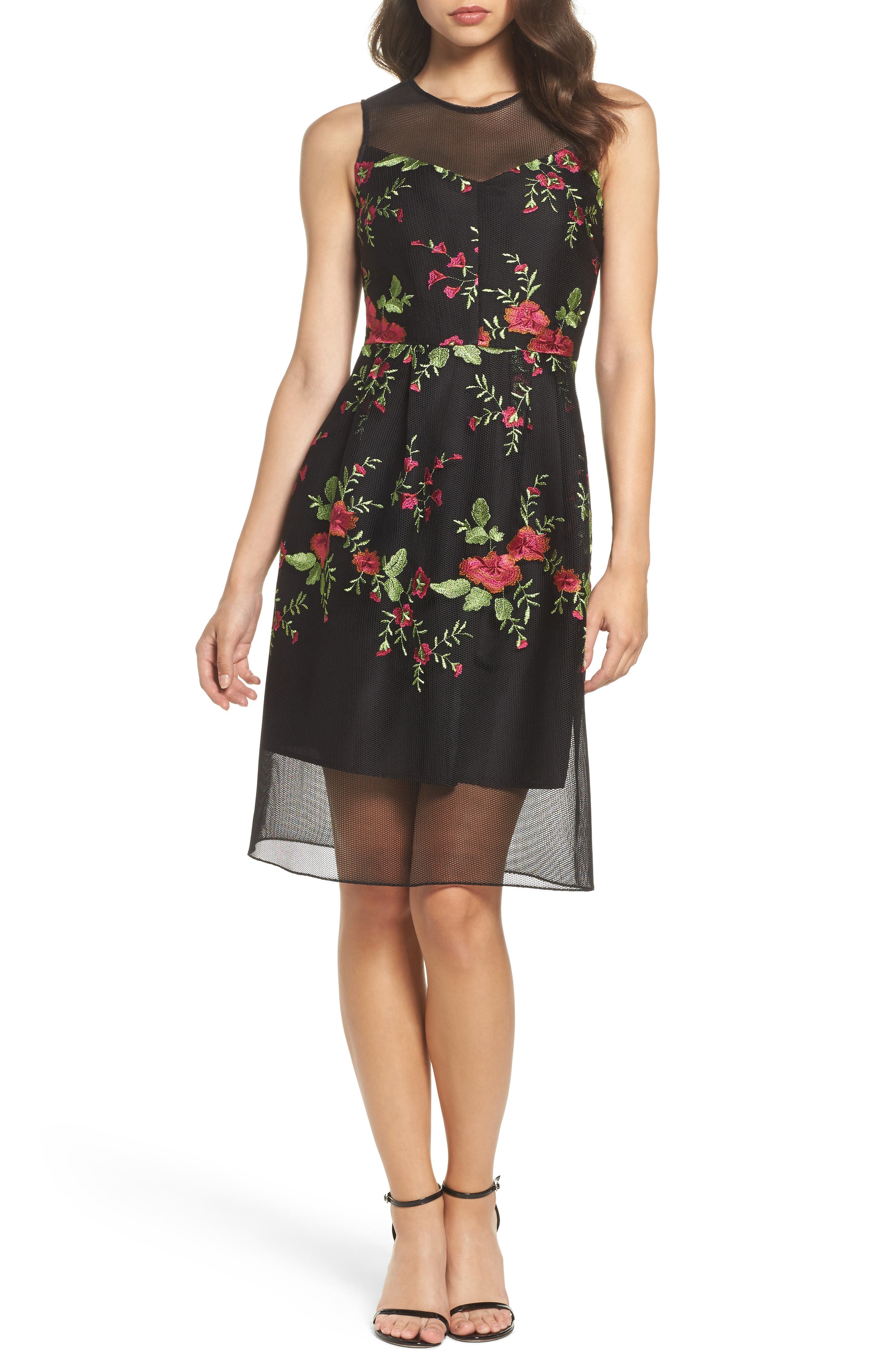 Embroidered Fit & Flare Dress,                         Main,                         color, Black Combo