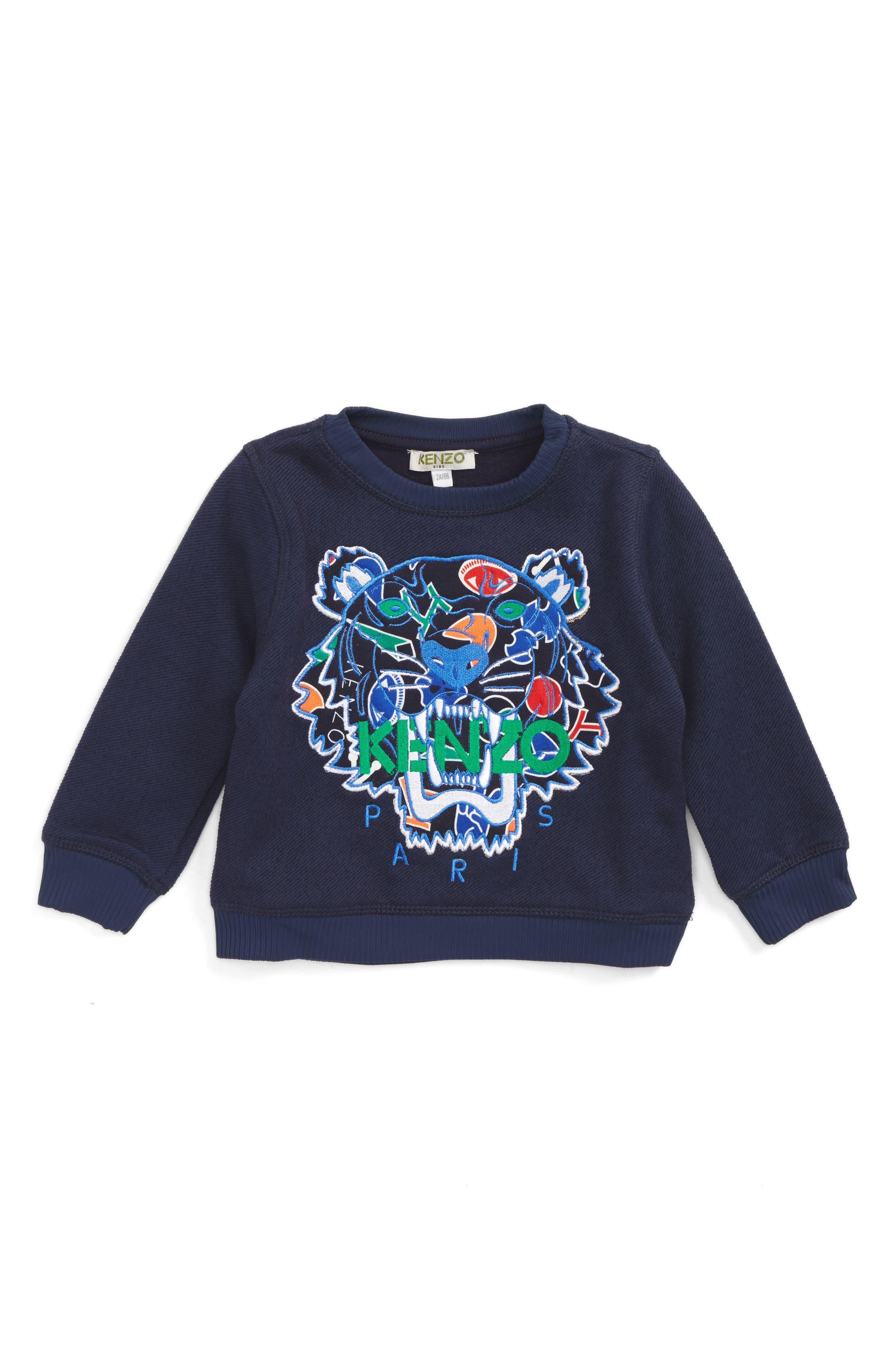 KENZO Stripe Tiger Logo Sweatshirt (Toddler Boys, Little Boys & Big Boys)