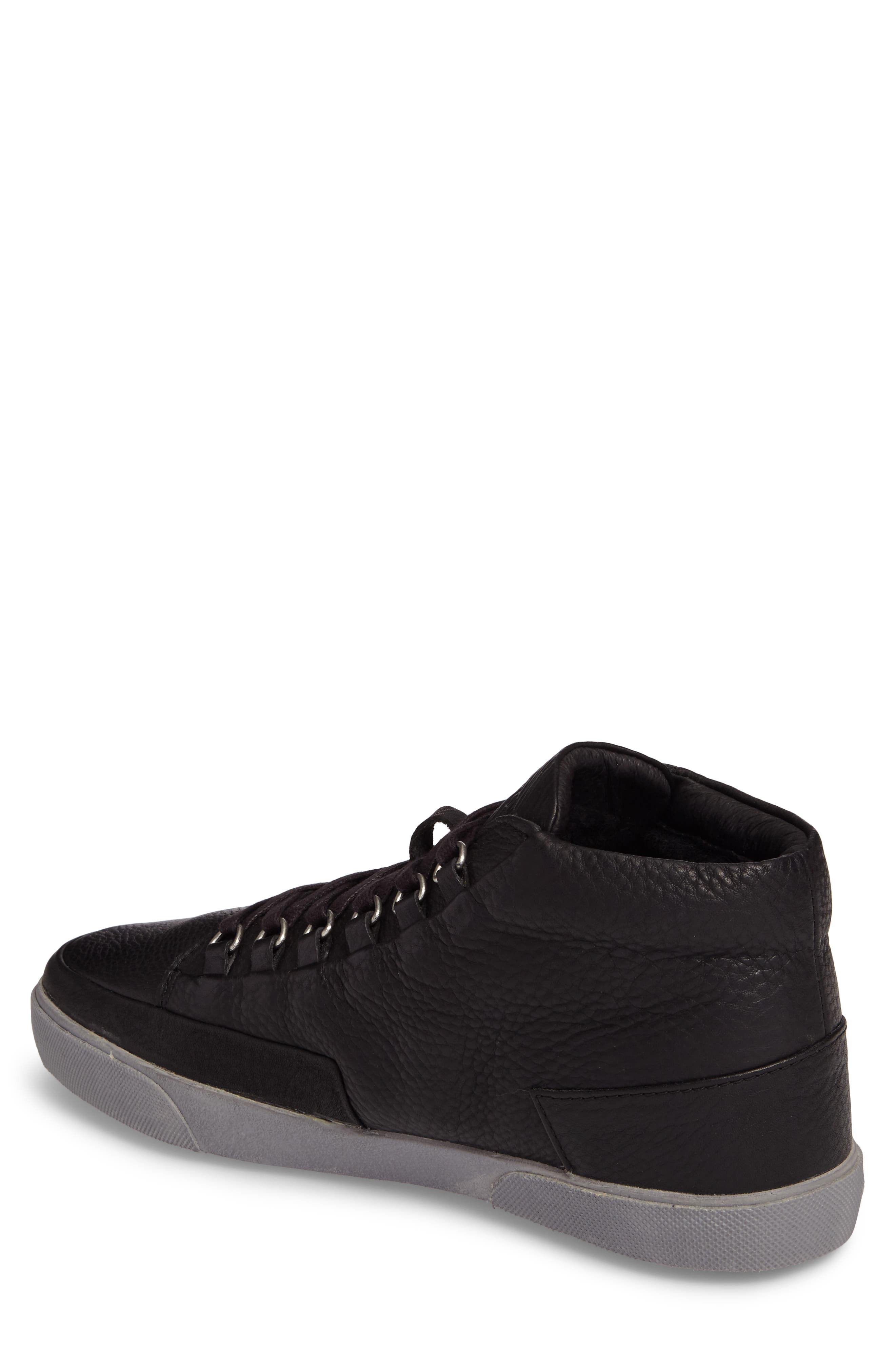 KM 02 Sneaker with Genuine Shearling Lining,                             Alternate thumbnail 2, color,                             Black Leather