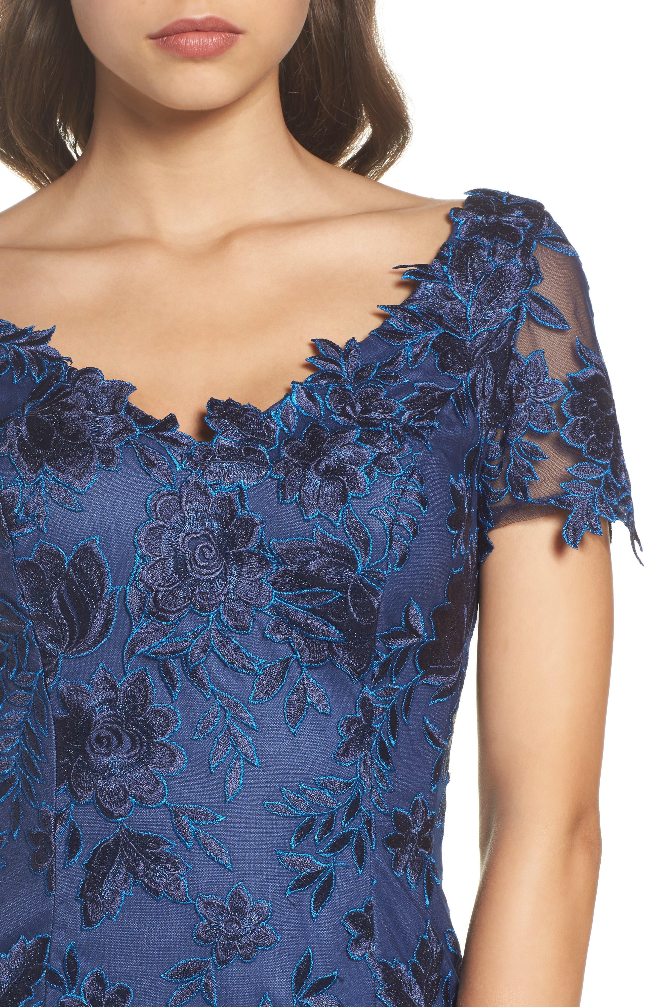 Alternate Image 4  - La Femme Lace Sheath Dress