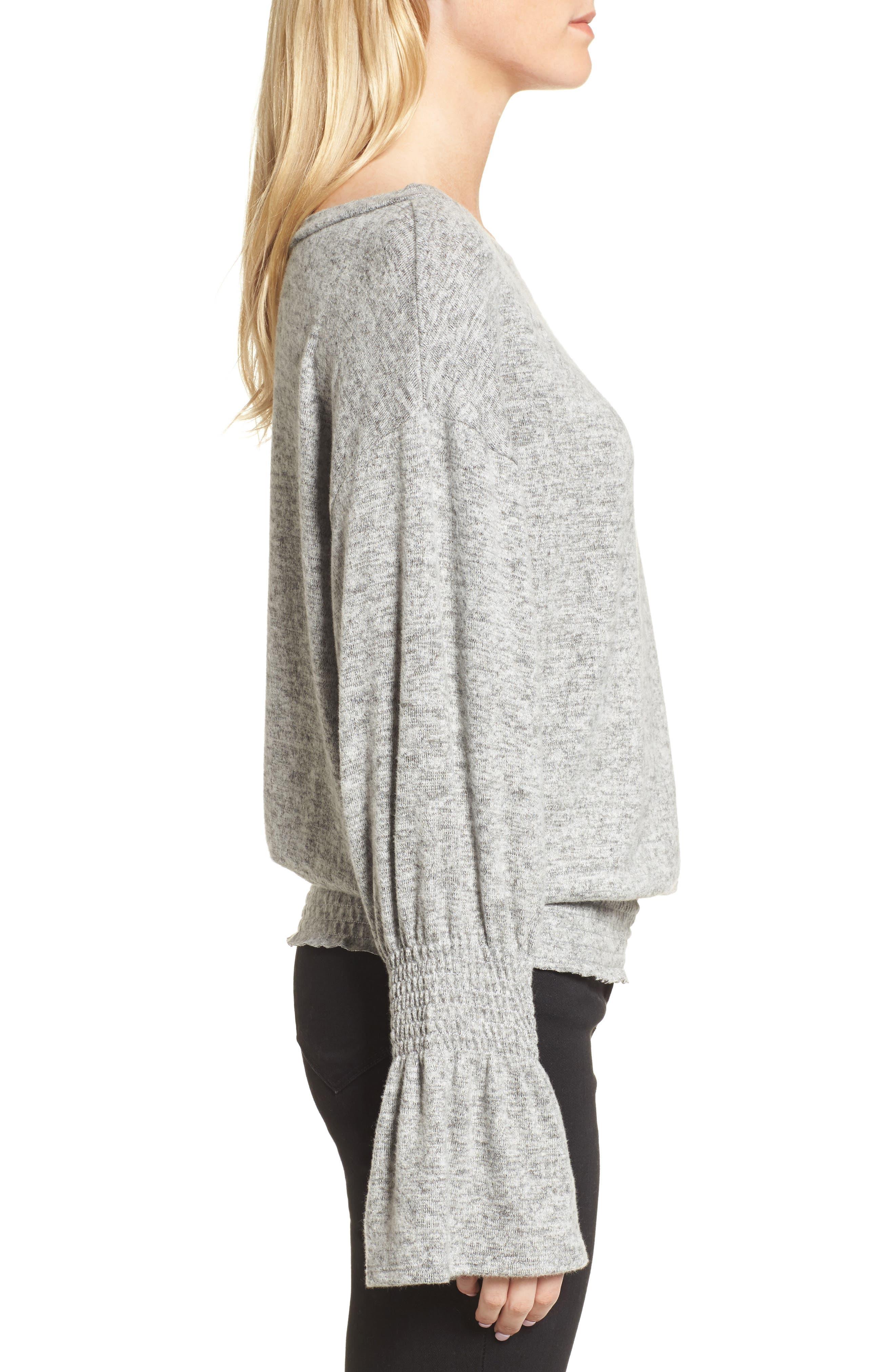Brushed Smocked Sweatshirt,                             Alternate thumbnail 3, color,                             Grey Heather