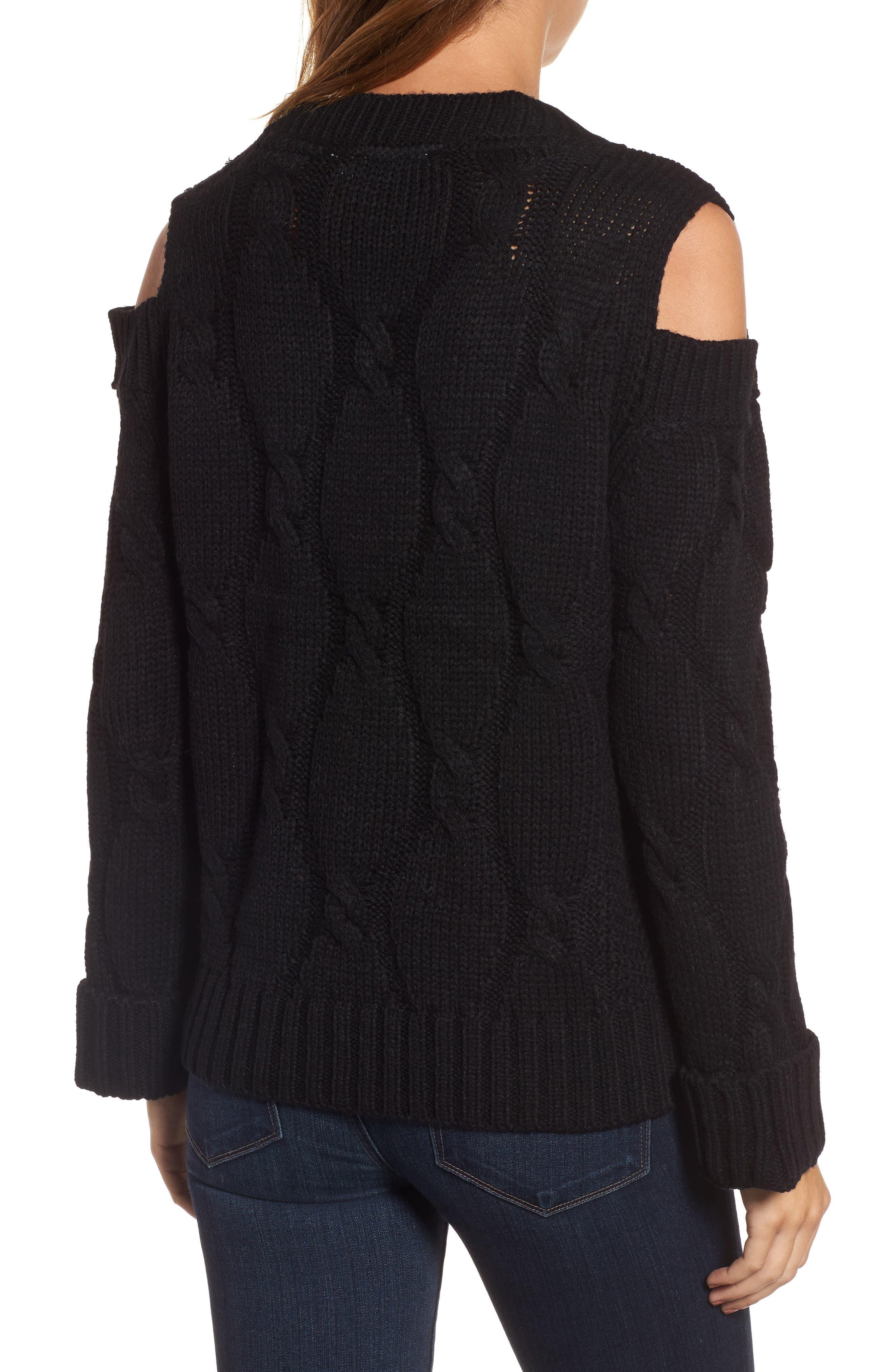 Cold Shoulder Cable Sweater,                             Alternate thumbnail 2, color,                             Black