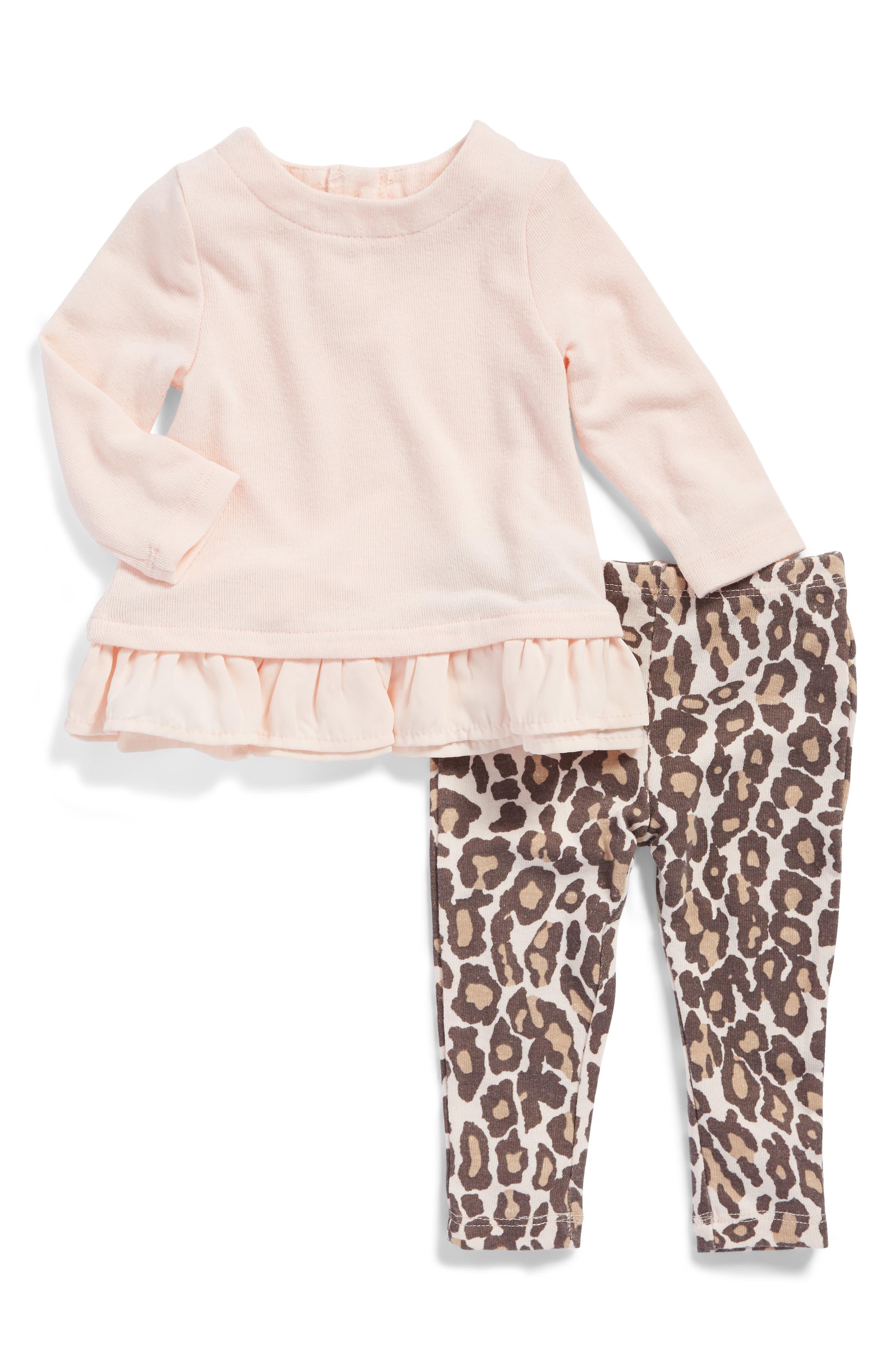 Top & Print Leggings Set,                             Main thumbnail 1, color,                             Light Pink