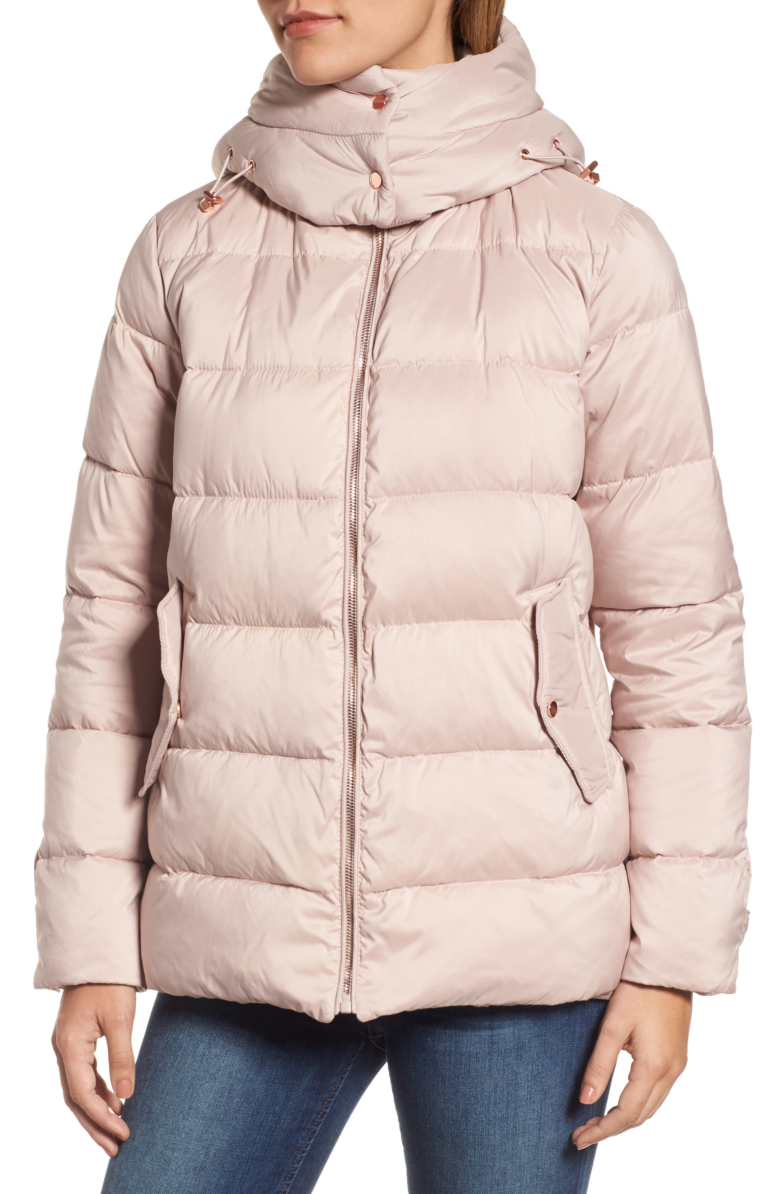 Hooded Puffer Jacket,                             Alternate thumbnail 5, color,                             Petal Pink