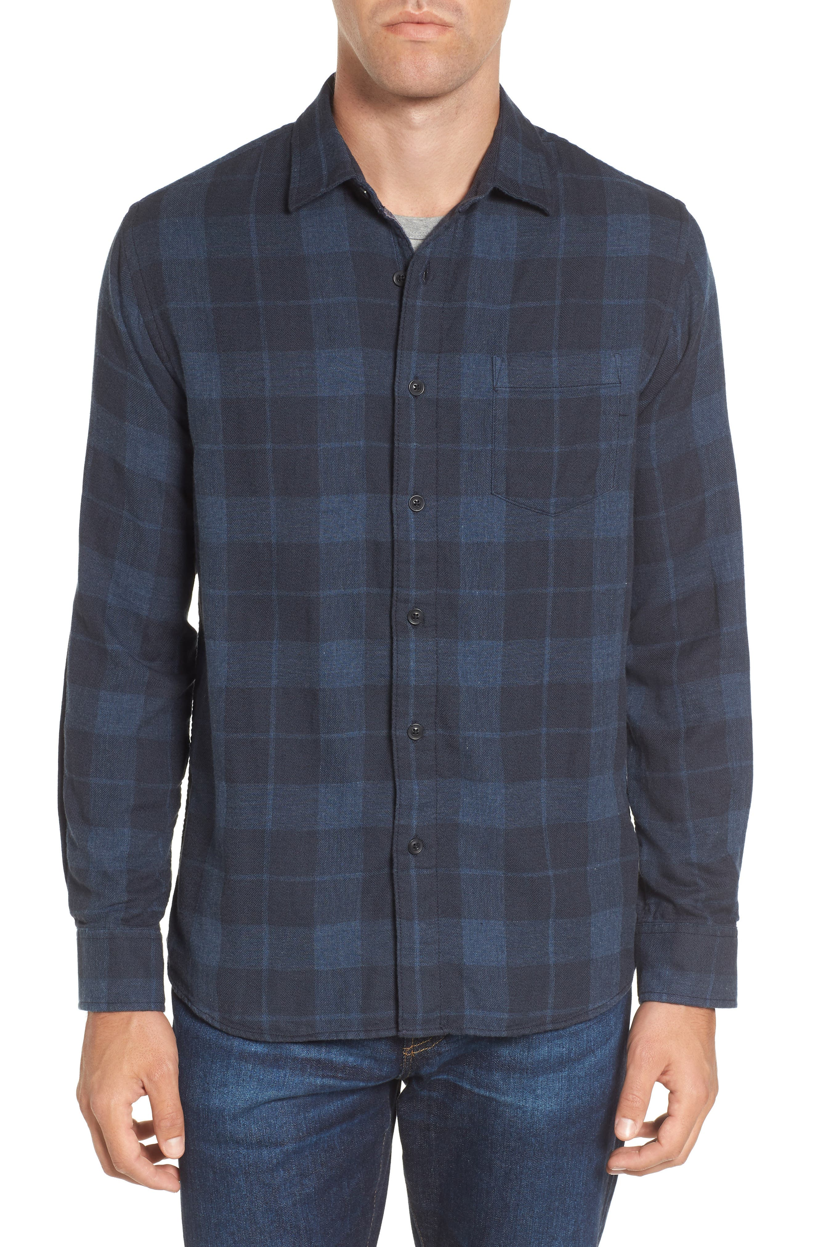 Helsby Double Cloth Plaid Sport Shirt,                             Main thumbnail 1, color,                             Charcoal Navy Heather