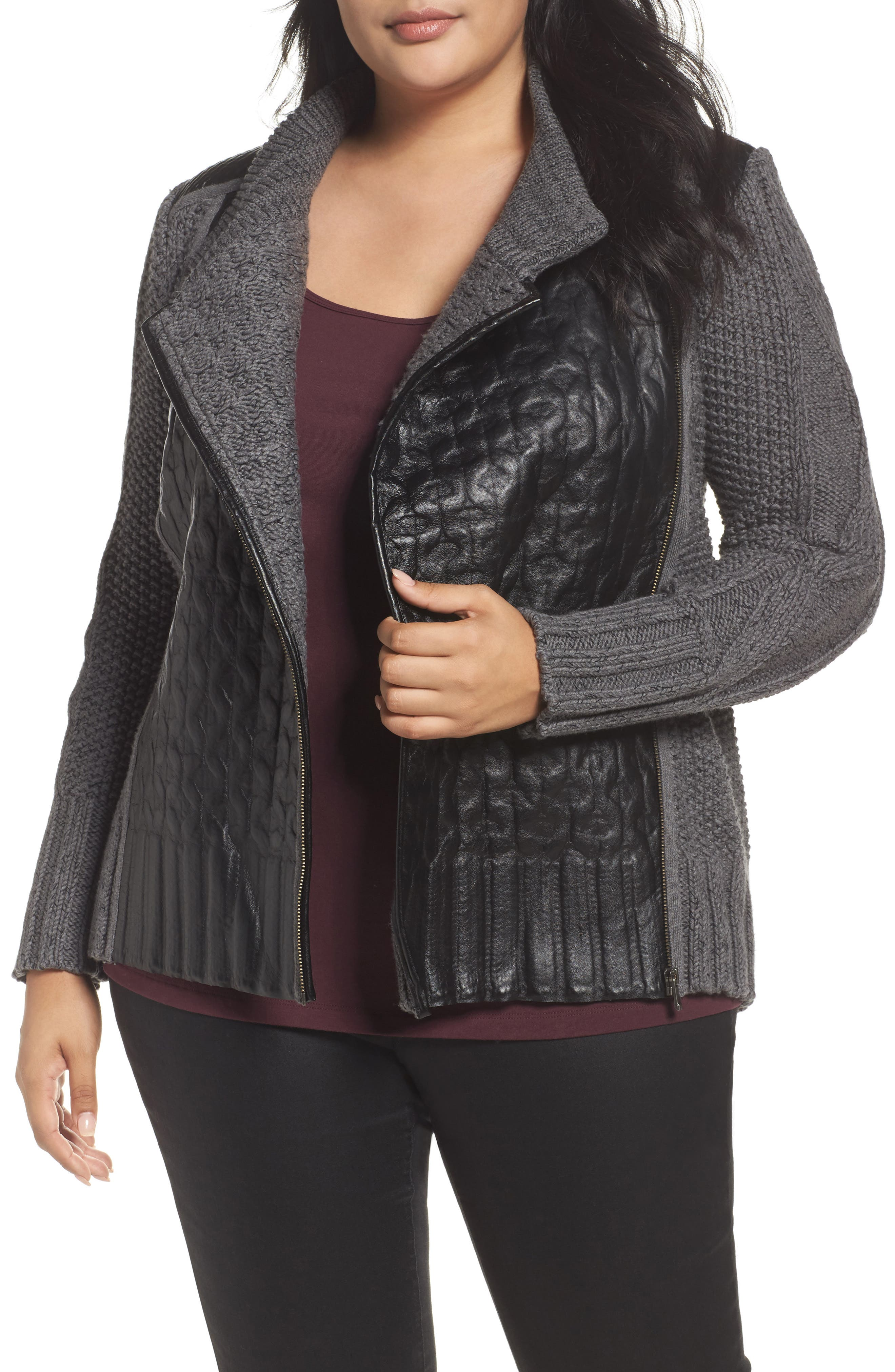 Cable Knit & Leather Jacket,                         Main,                         color, Grey Multi
